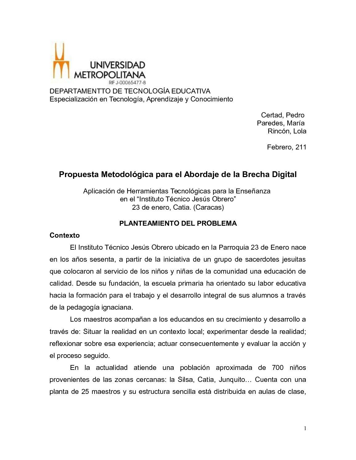 Calaméo - PROPUESTA PARA ABORDAR LA BRECHA DIGITAL