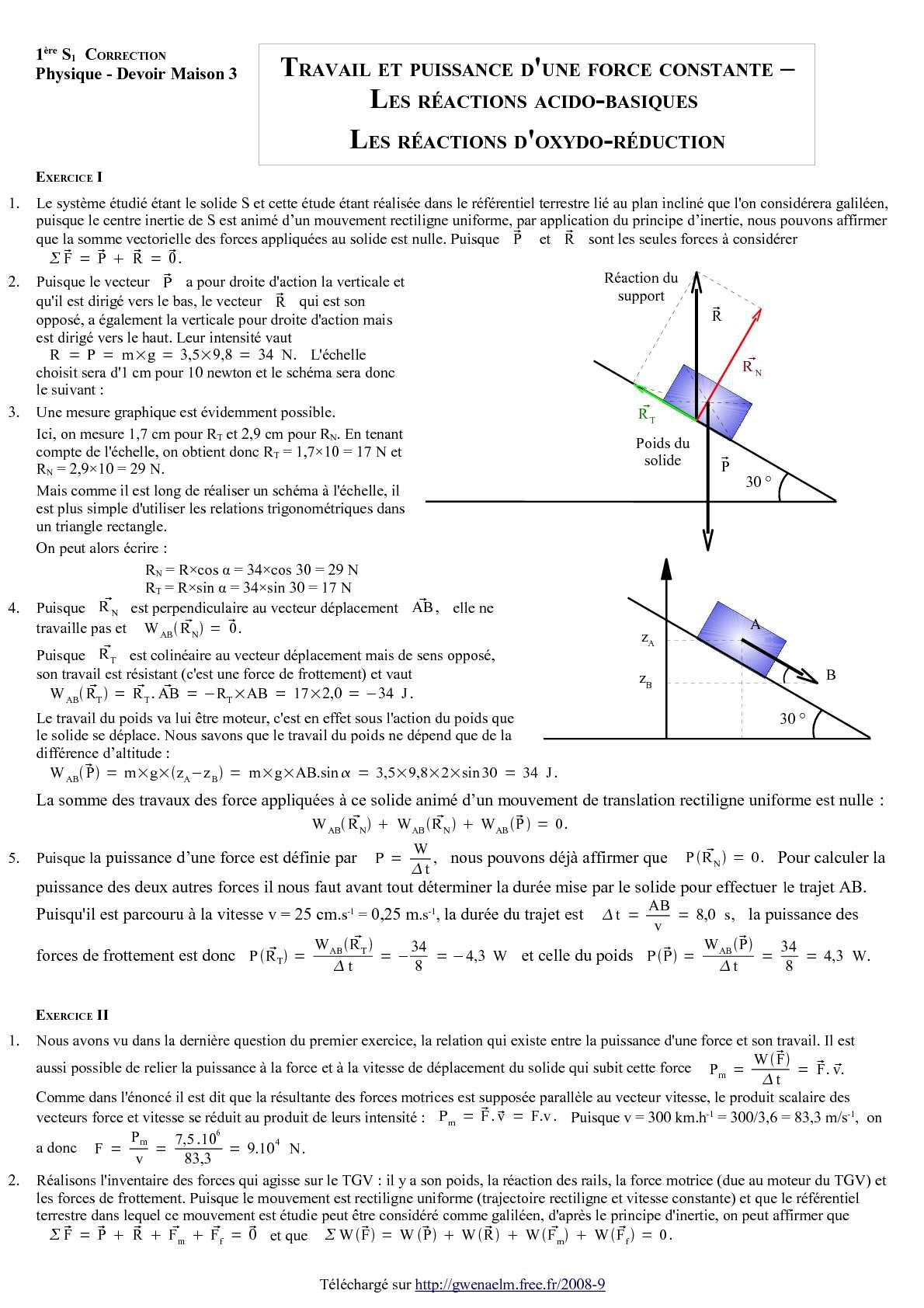 Calaméo - DM 3 - Première S - Travail et puissance d'une force constante - Les réactions acido ...