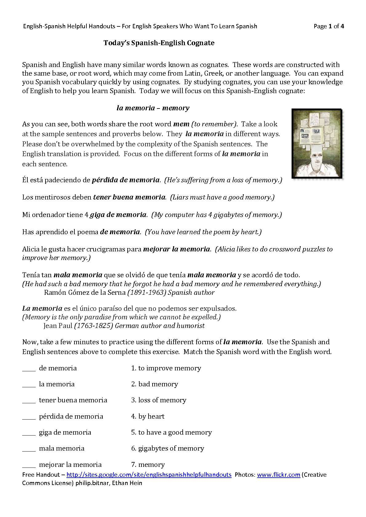 Worksheets Spanish Cognates Worksheet todays english spanish cognate