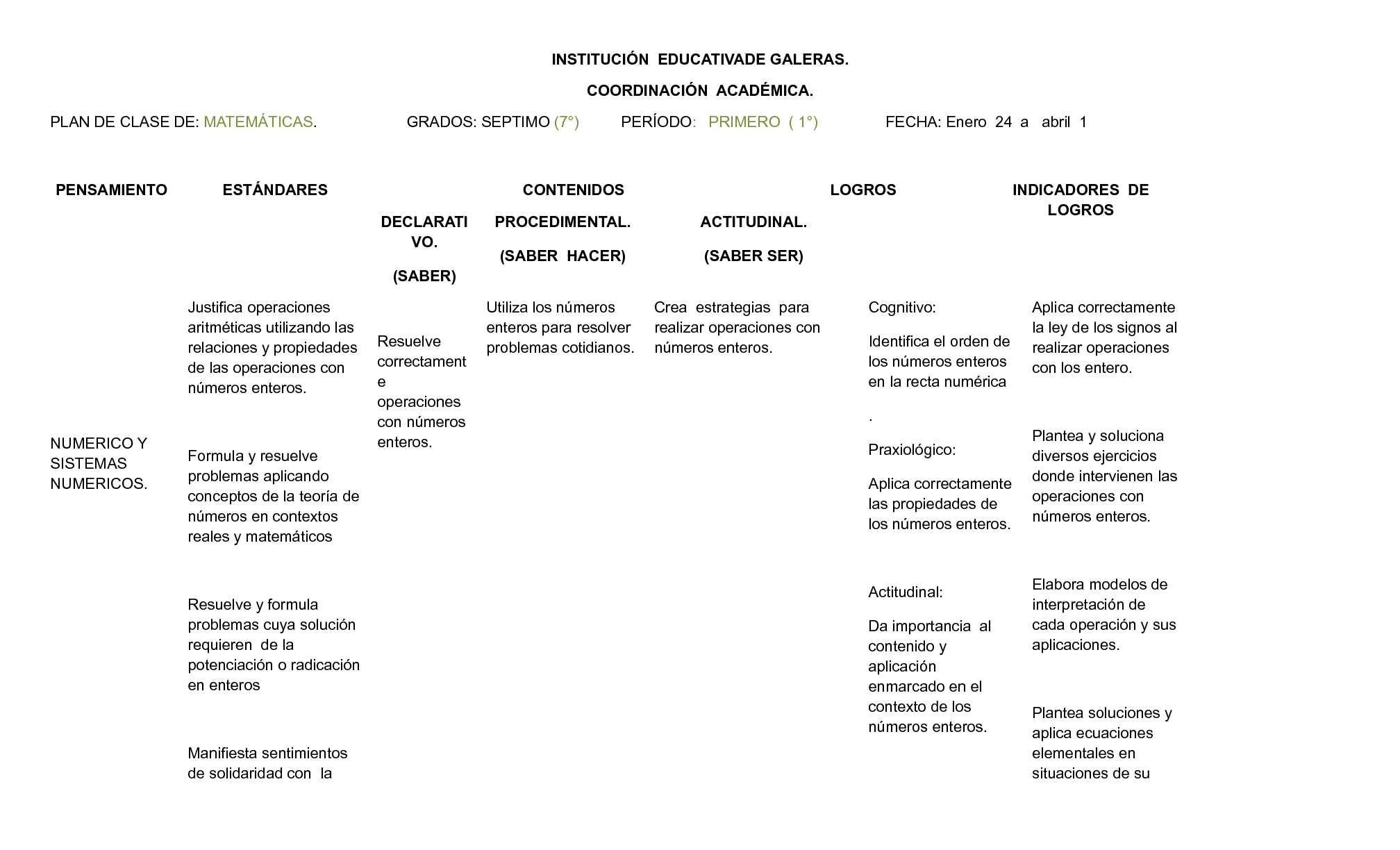 plan de clase matematicas