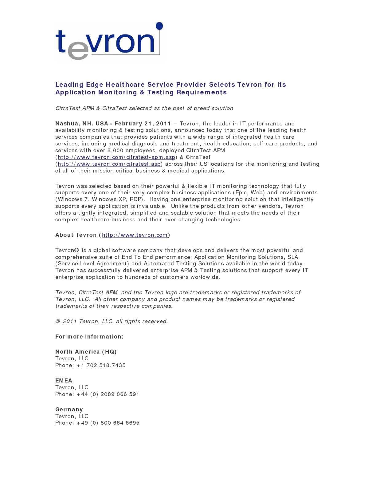 Calamo Leading Edge Healthcare Service Provider Selects Tevron
