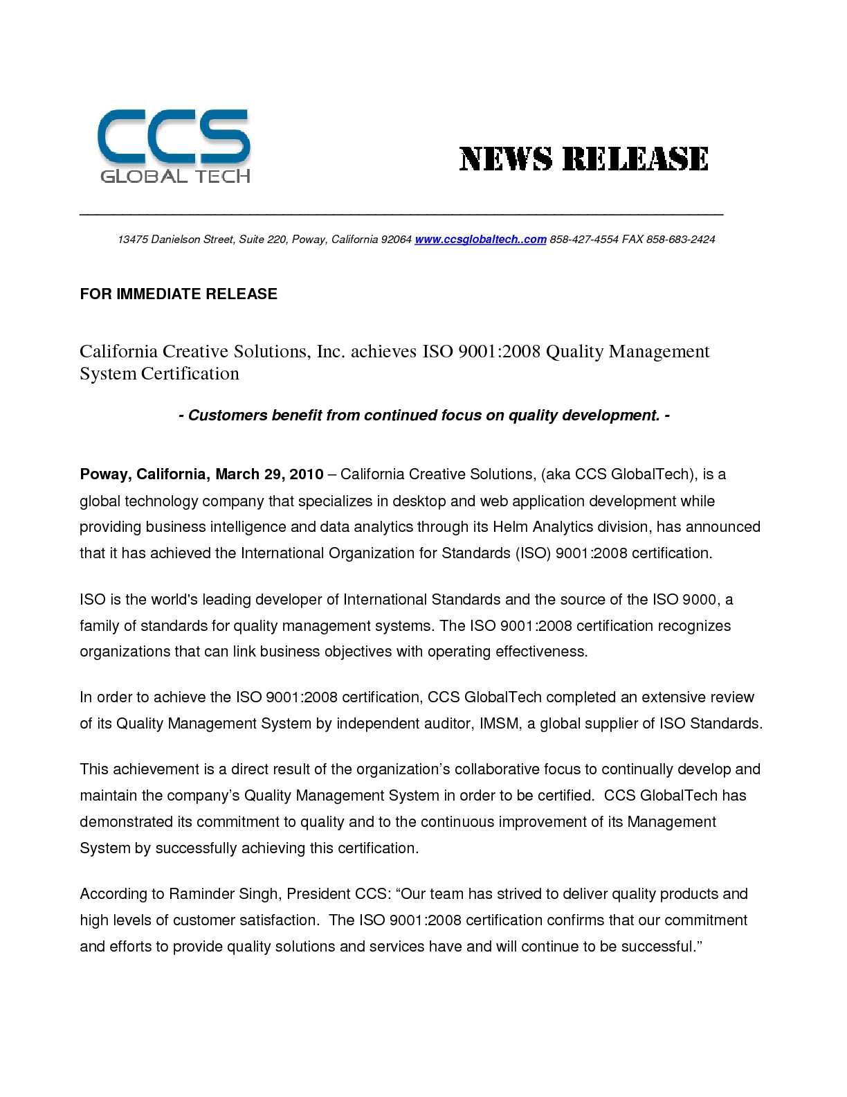 Calamo California Creative Solutions Immediate Releasepdf