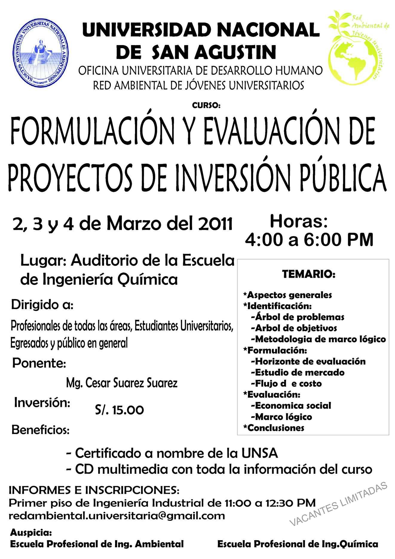 Calam o formulaci n y evaluaci n de proyectos de inversi n for Oficina nacional de evaluacion