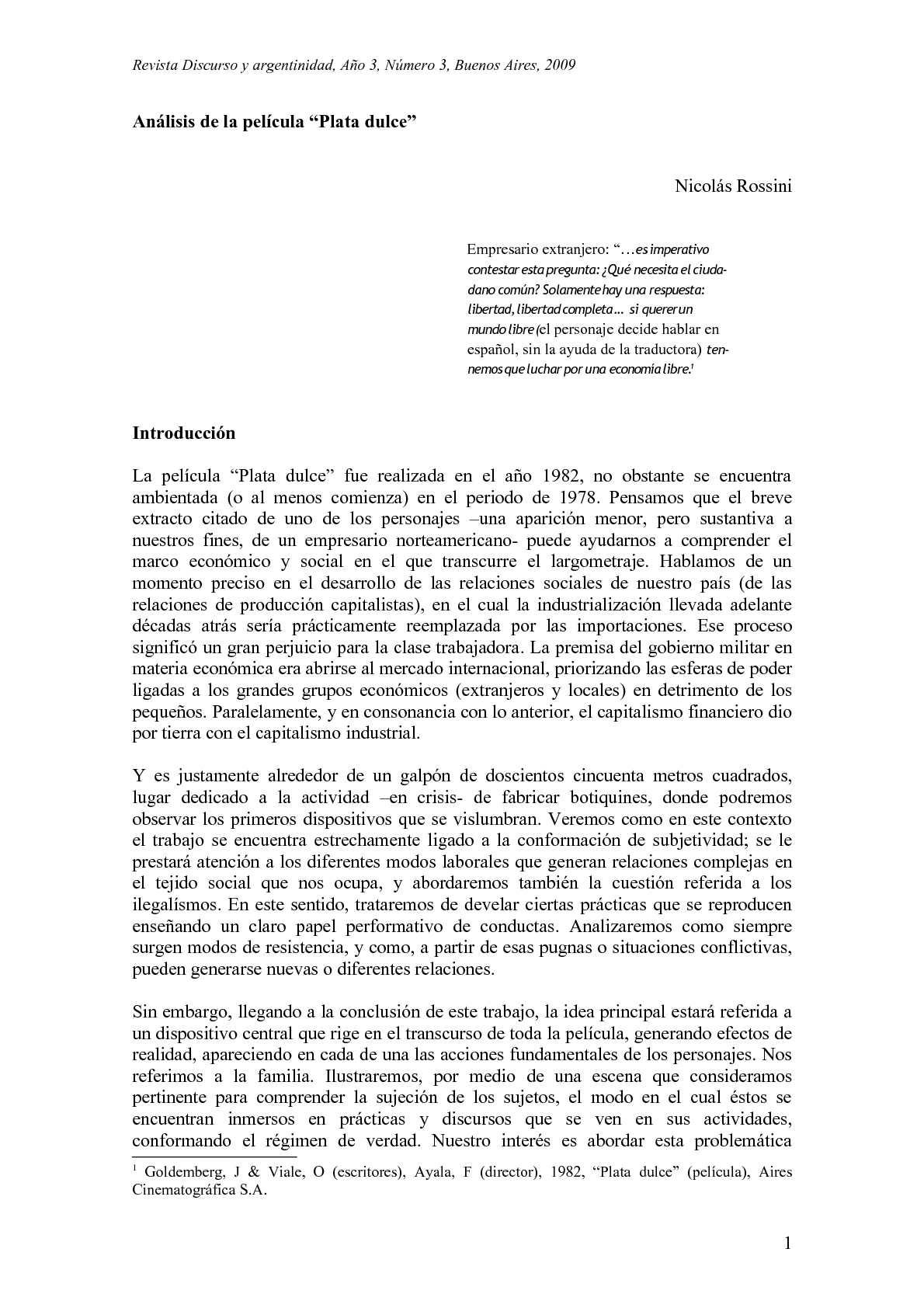 Nicolas Rossini. Análisis de la película Plata Dulce
