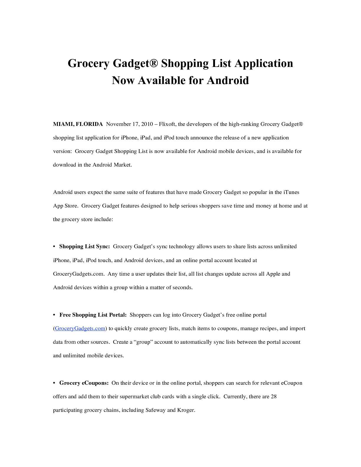 calaméo grocery gadget shopping list application now available