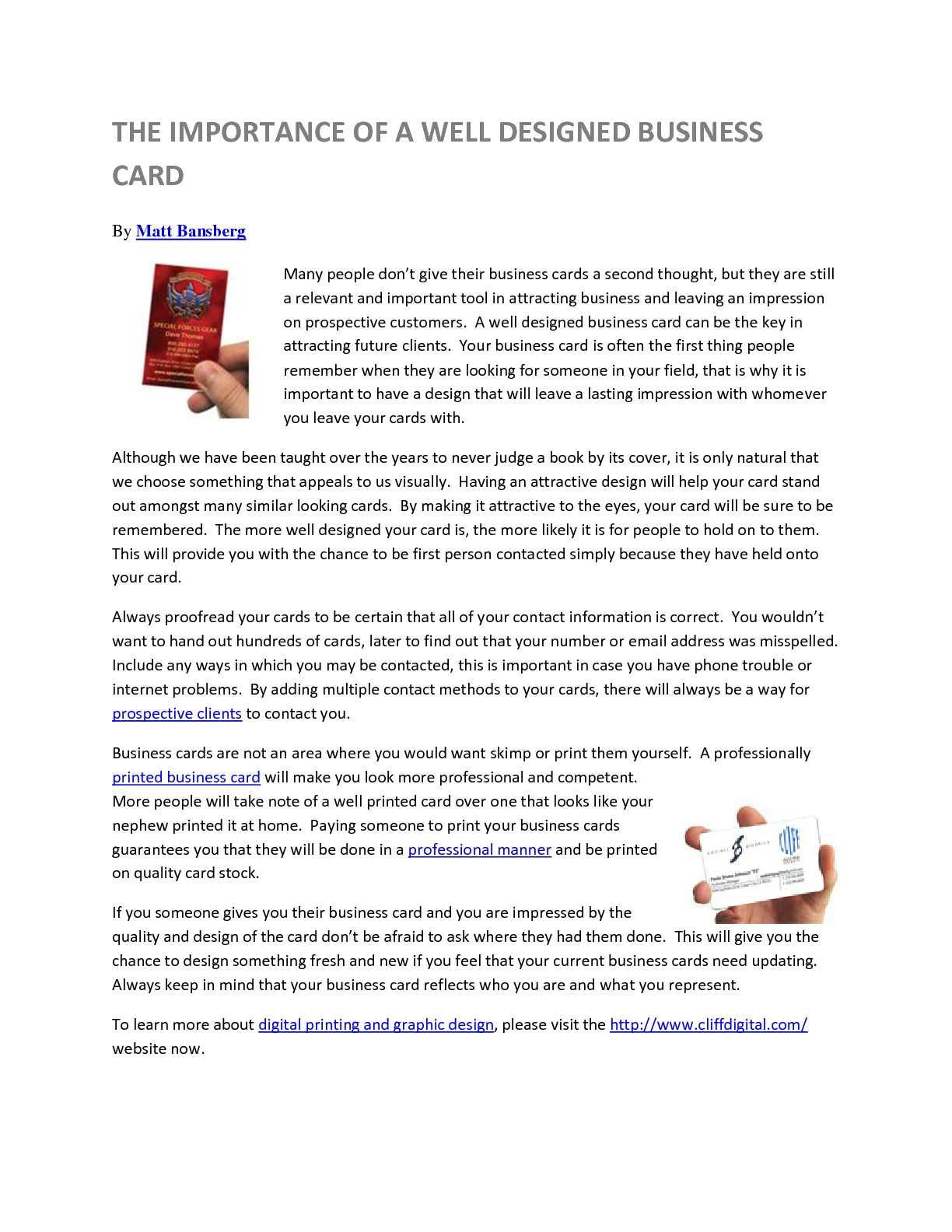 Calamo Importance Of A Well Designed Business Card Cliffdigital