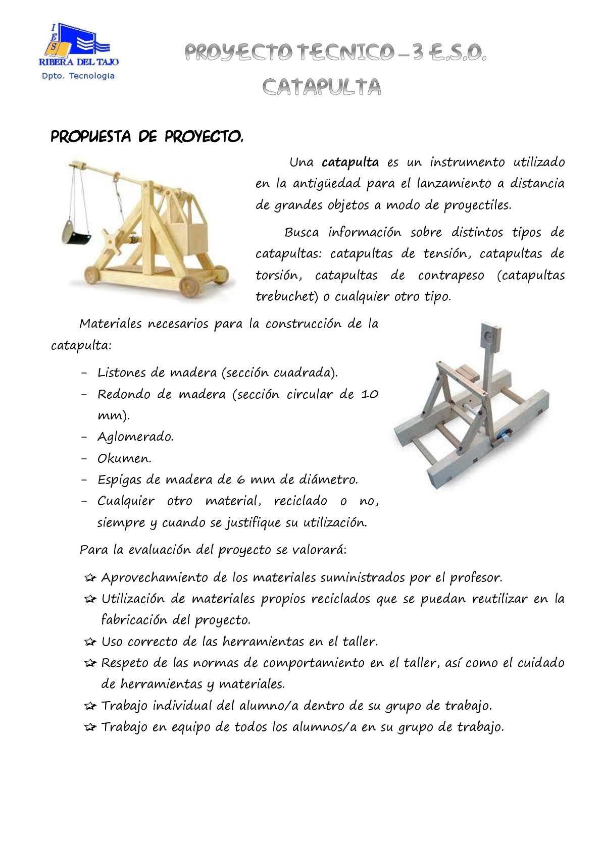 Calam o propuesta proyecto catapulta for Proyecto de criadero de mojarras