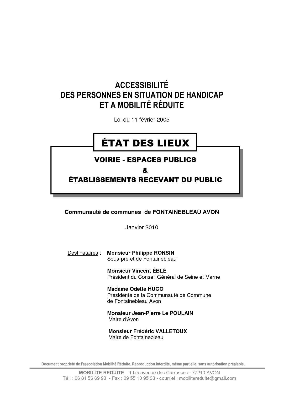Accessibilite Erp Salle De Bain ~ calam o fontainebleau avon rapport sur l accessibilit des