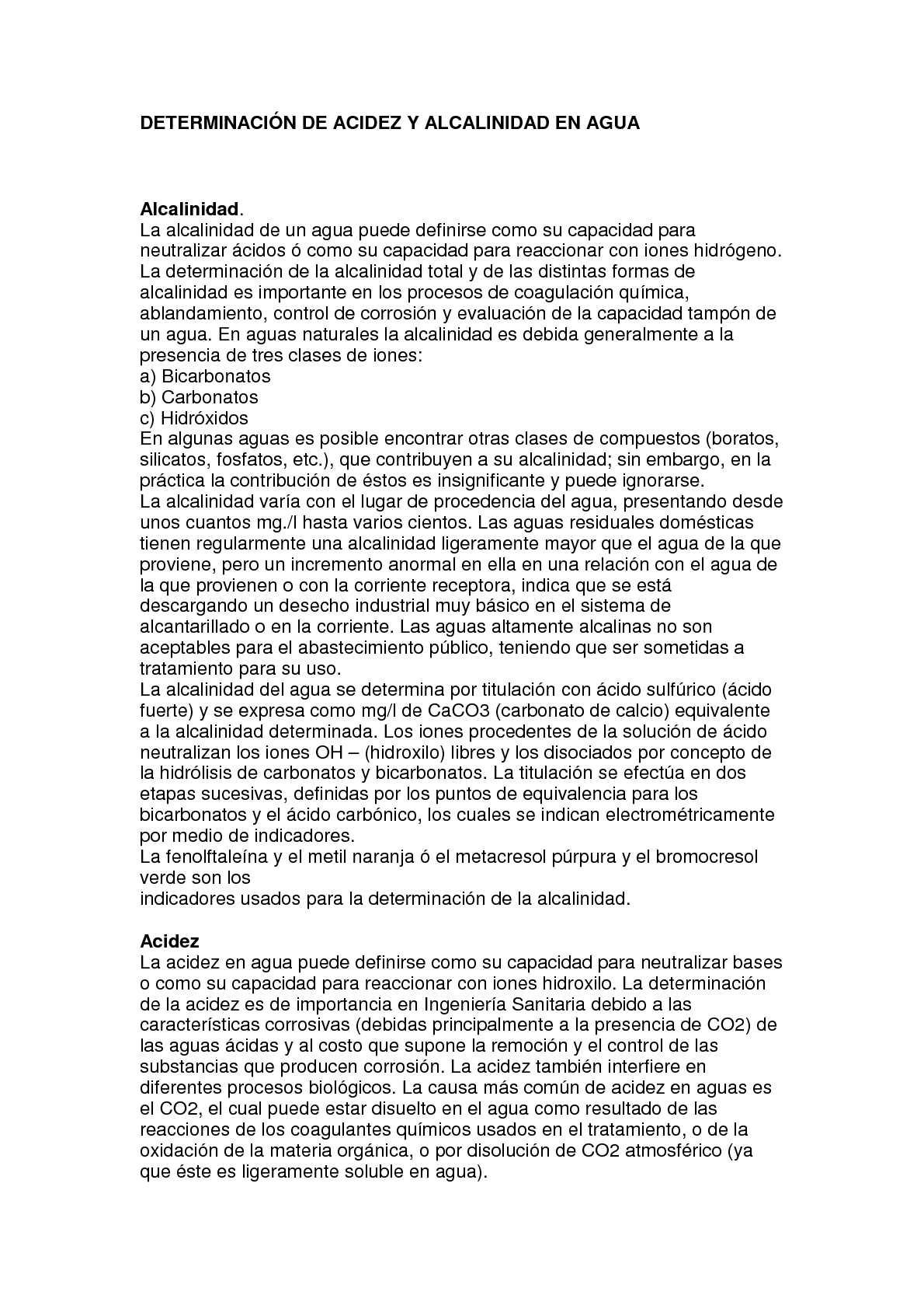 DETERMINACION DE ACIDEZ Y ALCALINIDAD EN AGUA