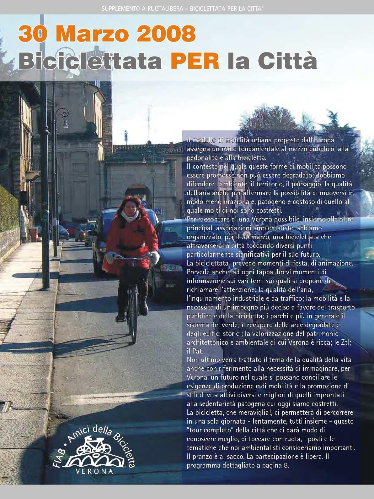 """Ruotalibera 104-bis (Supplemento) """"Biciclettata PER la città"""" - FIAB AdB Verona"""