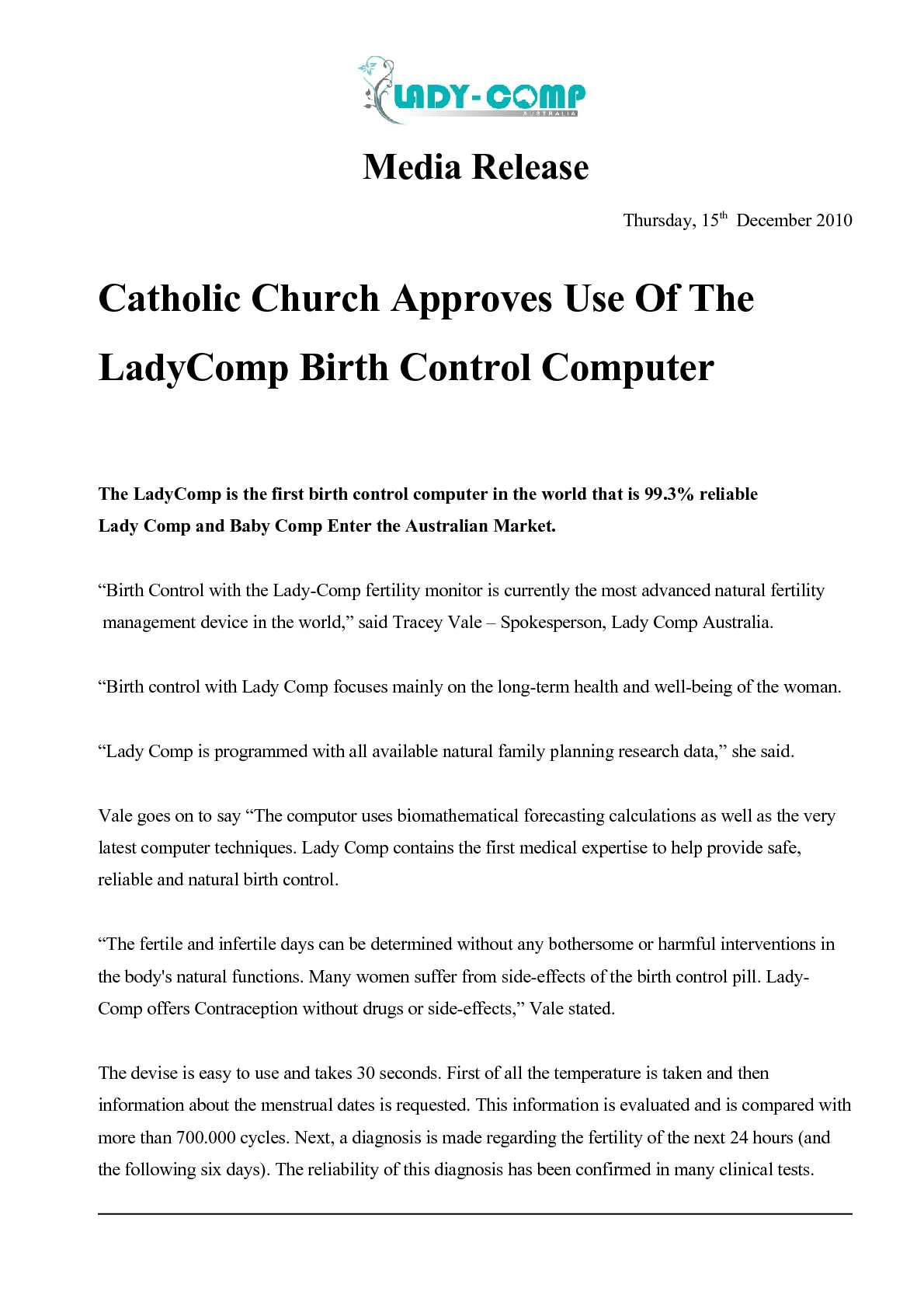 Calameo Catholic Church Approves Use Of The Ladycomp Birth Control Computer