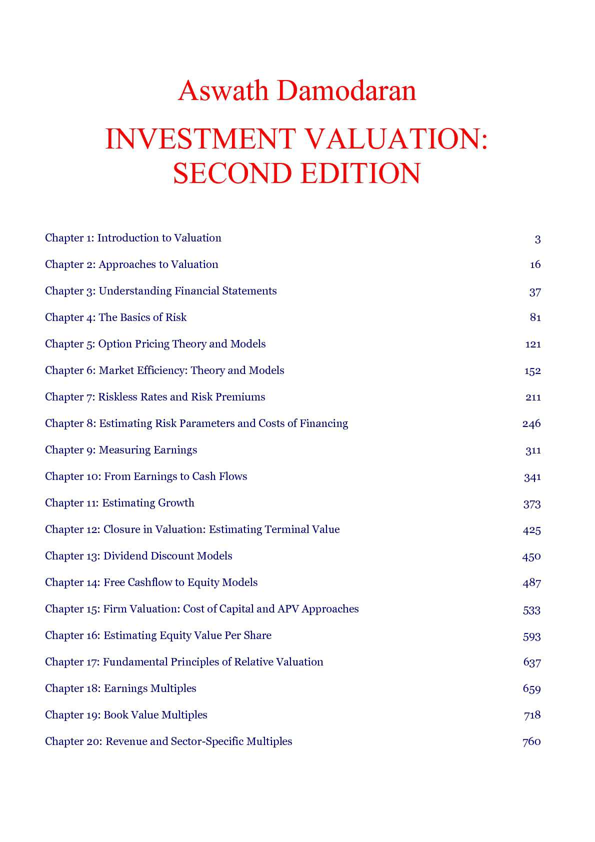 Mcgraw-Hill - Brealey & Myers - Finance - Investment Valuation, 2nd Edition
