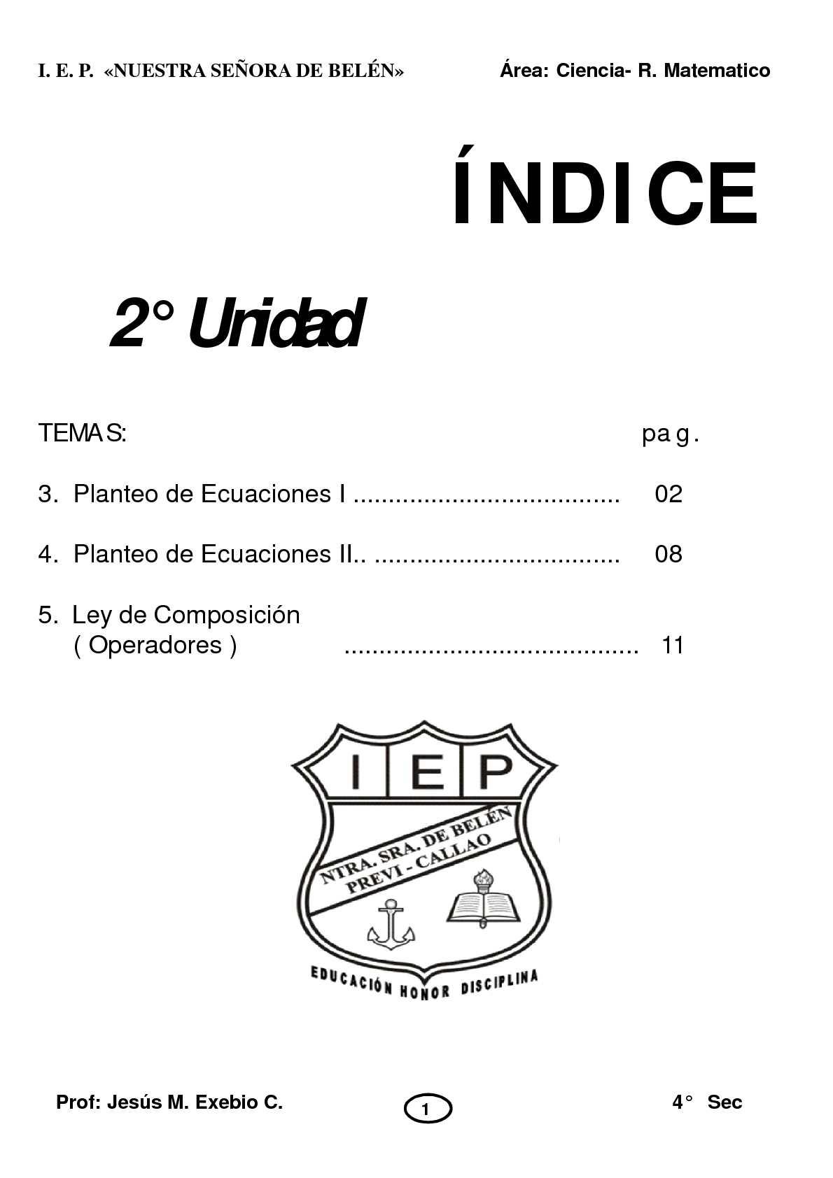 R. MATEMATICO 4 SEC 2 UNIDAD