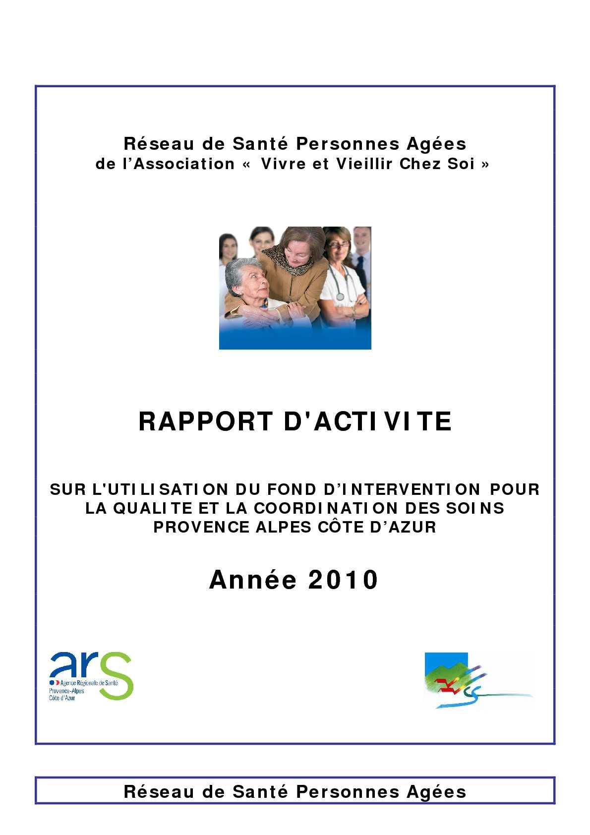 Calam o rapport d 39 activit 2010 for Activite chez soi