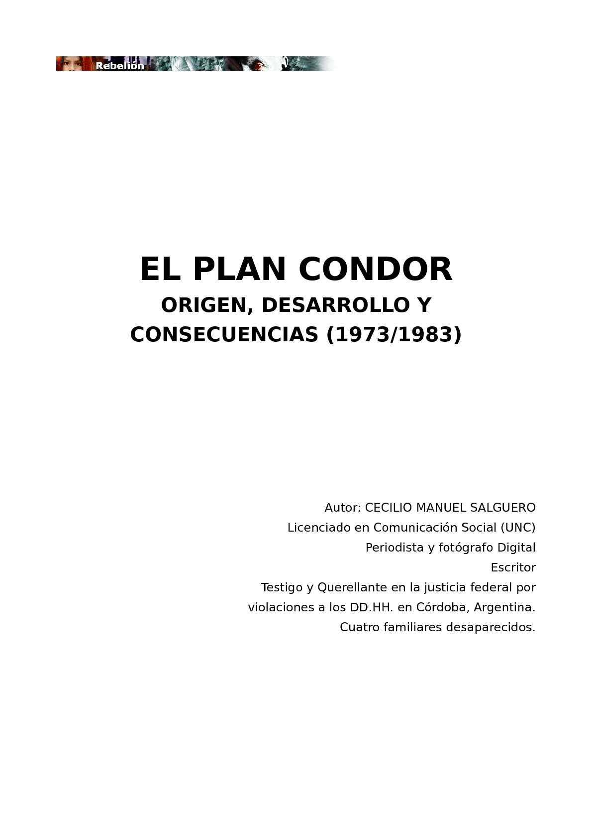 Calaméo - Salguero, Cecilio M. - El Plan Cóndor, origen, desarrollo ...