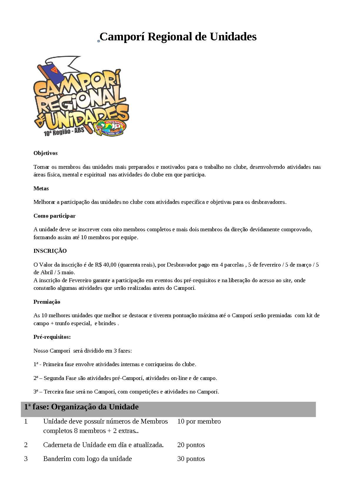 Pre requisitos do Campori de Unidades
