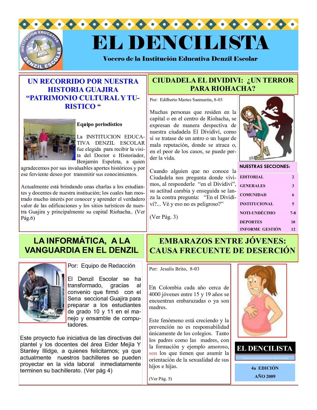 Calam o peri dico escolar dencilista 2009 for Editorial de un periodico mural
