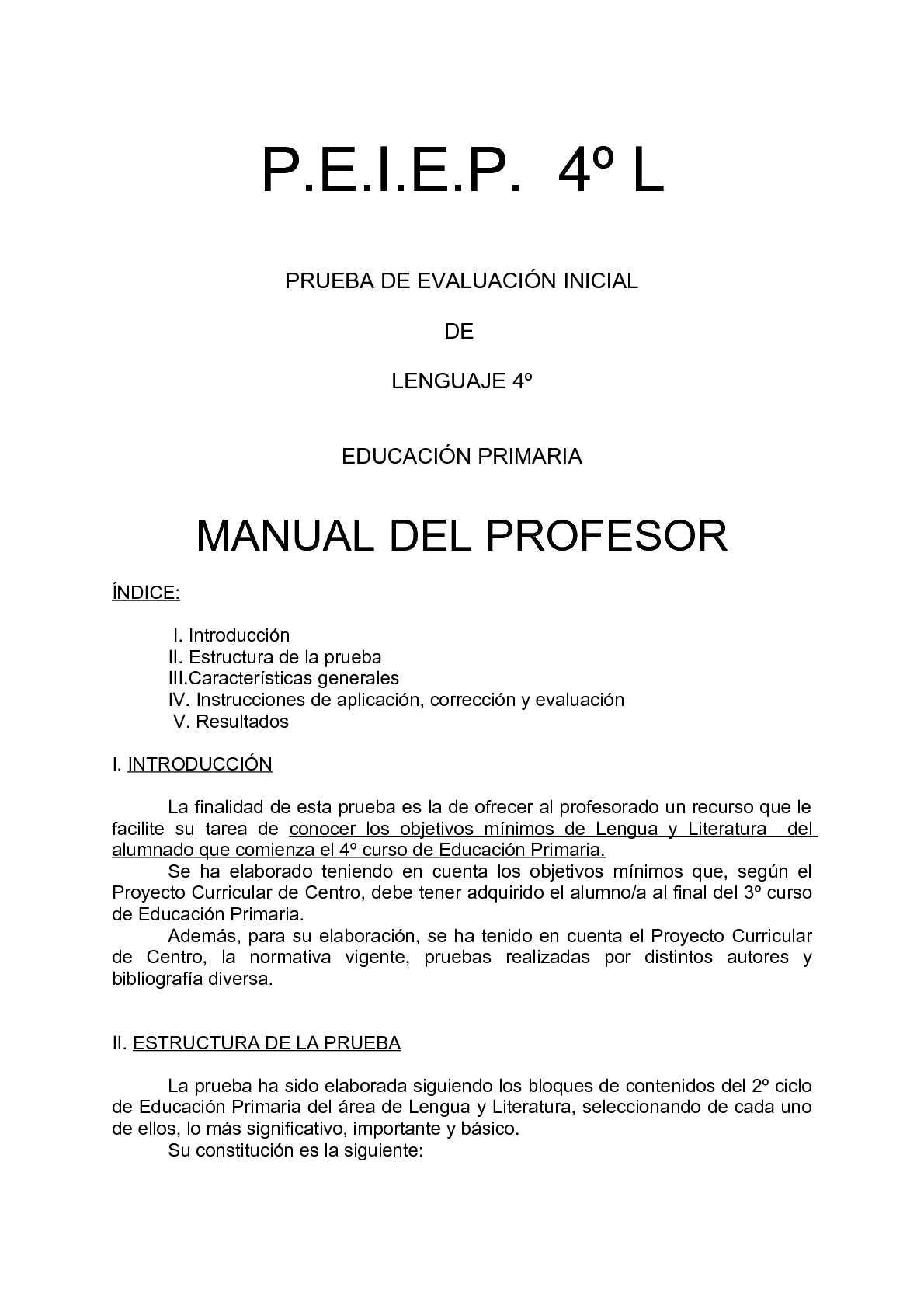 Evaluación Inicial de 4º de Educación Primaria de Lengua