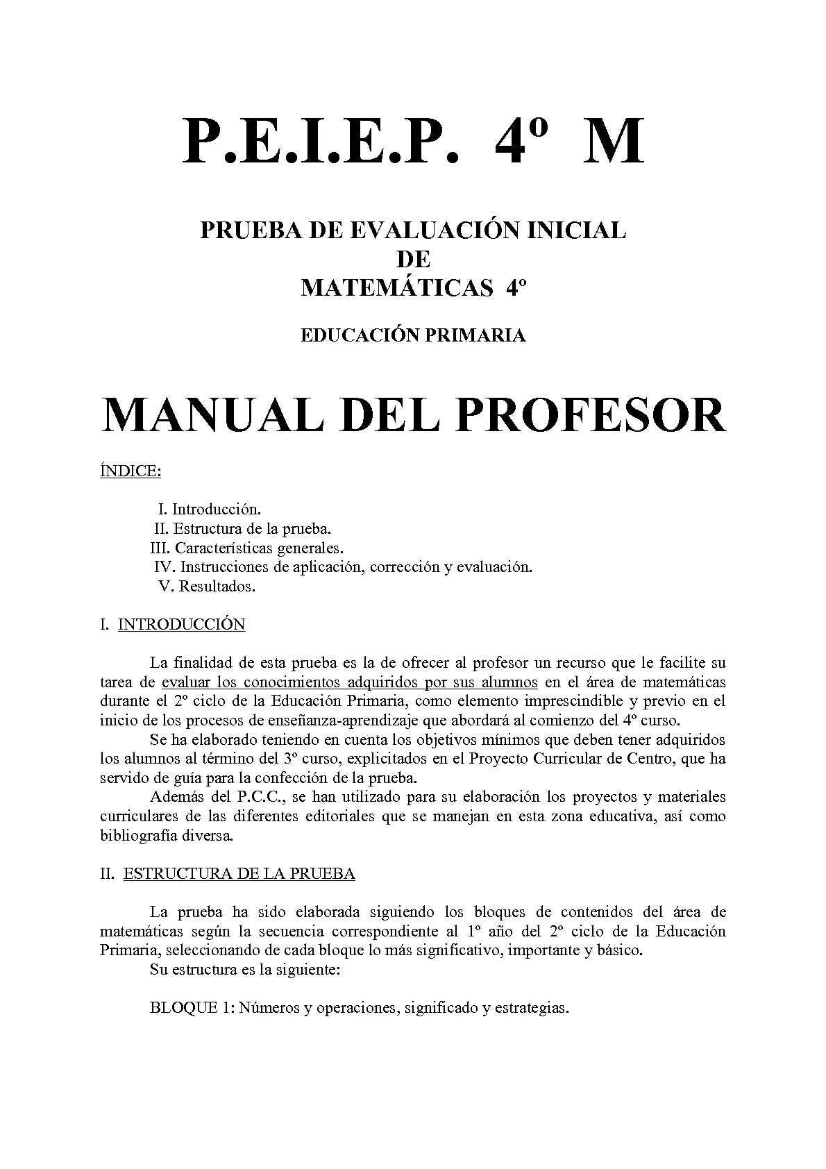 Evaluación Inicial de 4º de Educación Primaria de Matemáticas