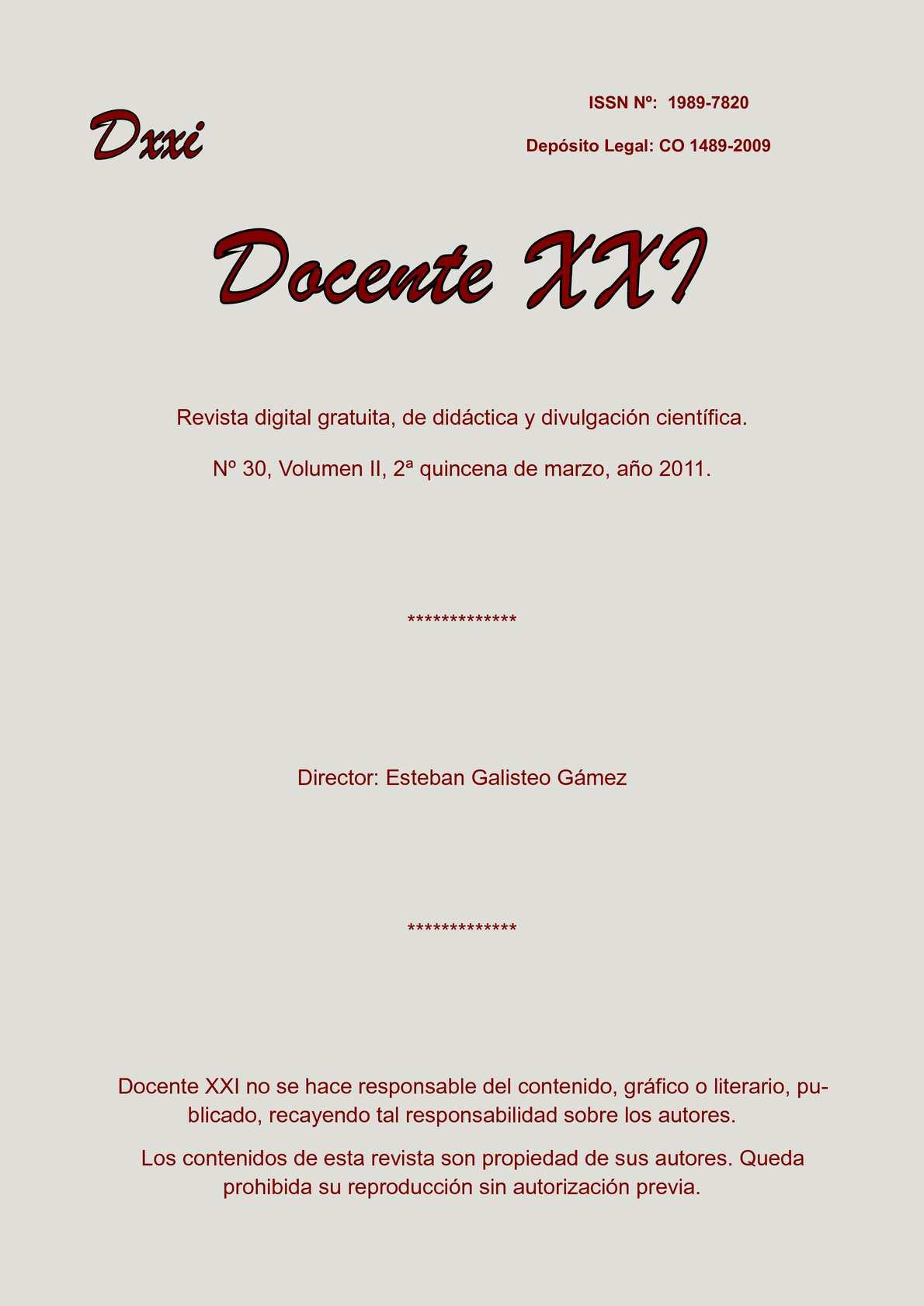 Calaméo - Docente XXI, nº30 vol. II, 2ª quincena de marzo de 2011