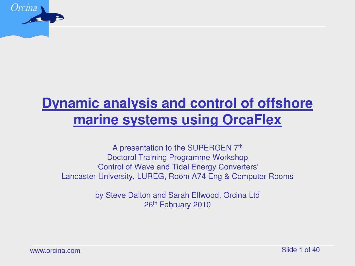 Calam 233 O Orcaflex Control Of Wave And Tidal Energy