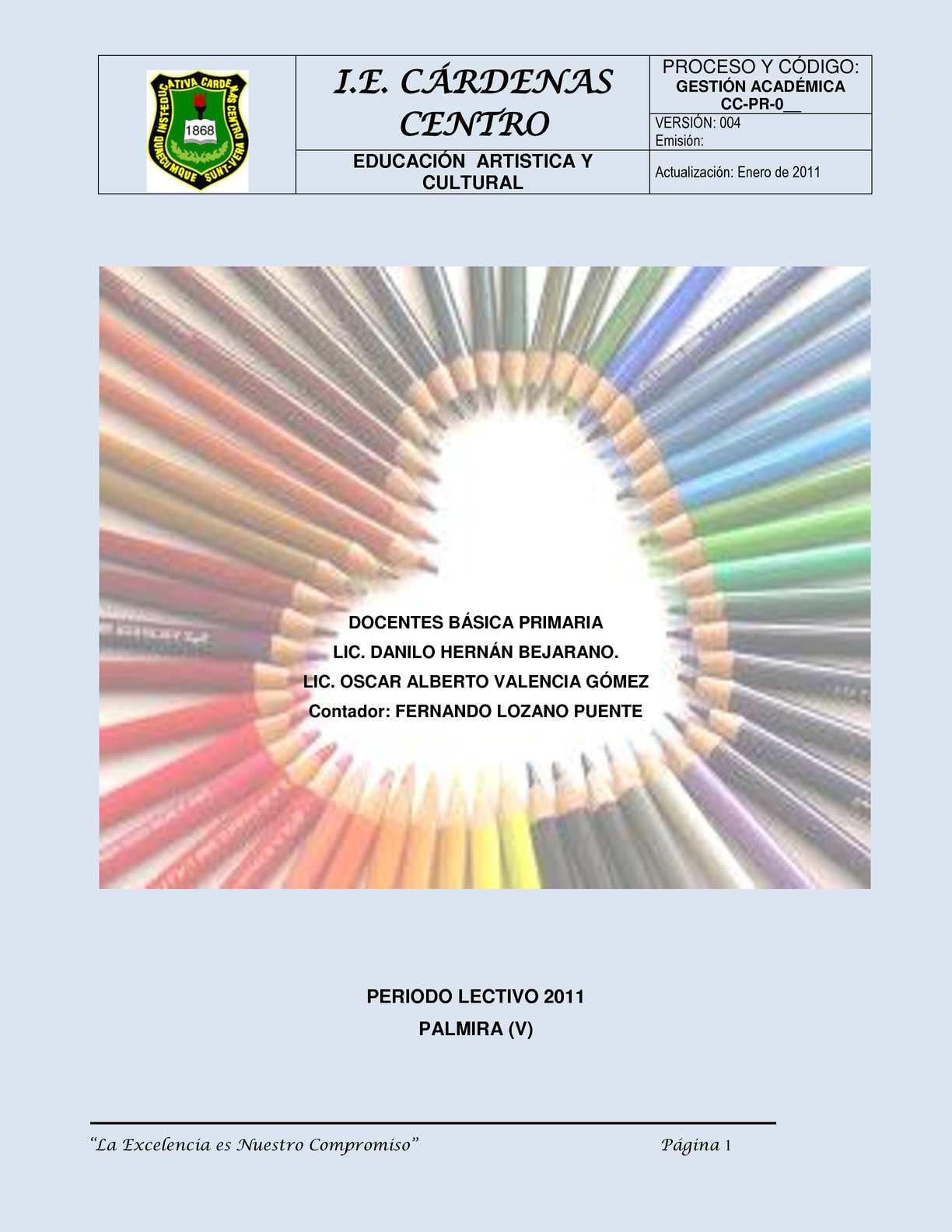 Plan de área Educación Artística y Cultural  IECC 2011