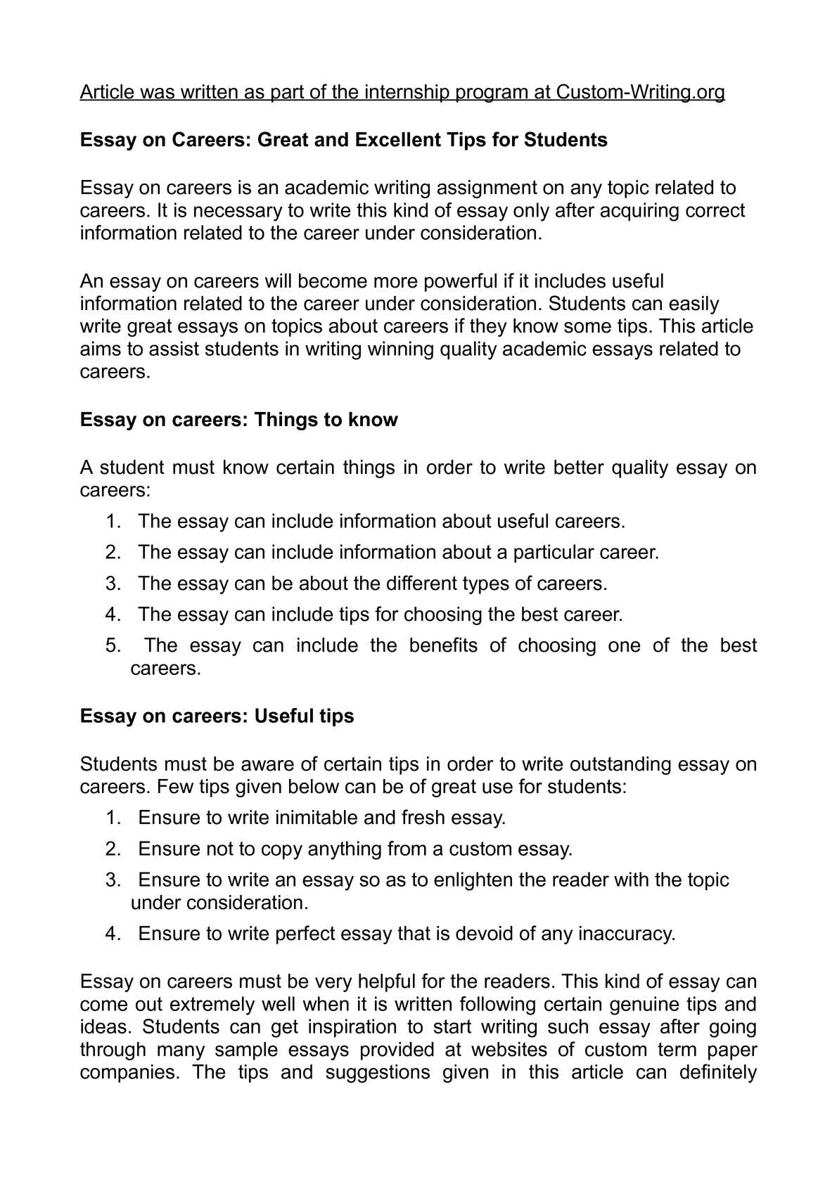 Calamo  Essay On Careers Great And Excellent Tips For Students