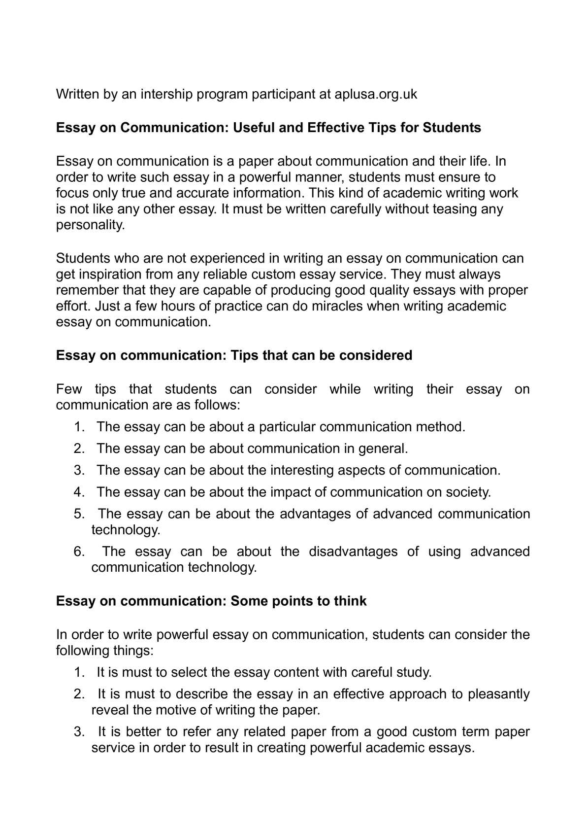 How to write a communications essay