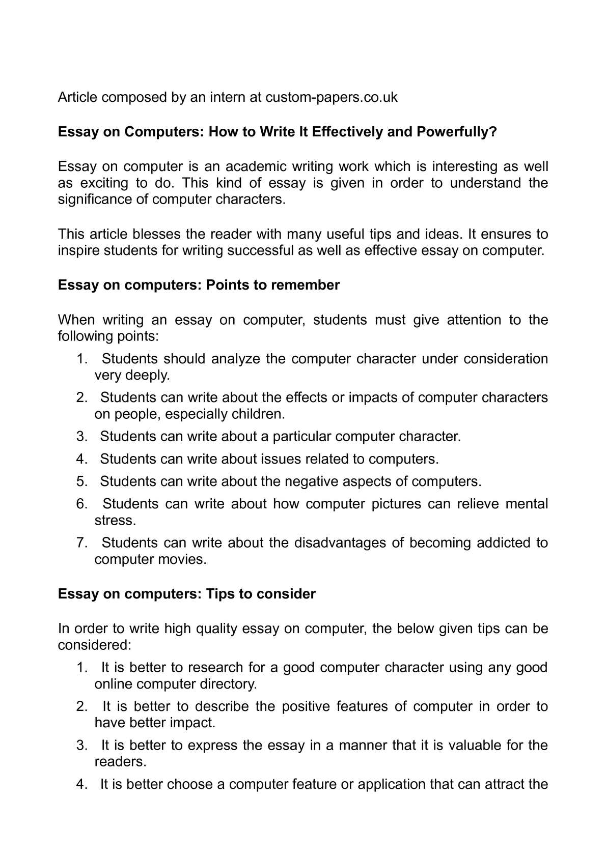Argumentative Essay Thesis Statement Calamo  Essay On Computers How To Write It Effectively And Powerfully Wonder Of Science Essay also How To Start A Proposal Essay Calamo  Essay On Computers How To Write It Effectively And  English Essays For High School Students