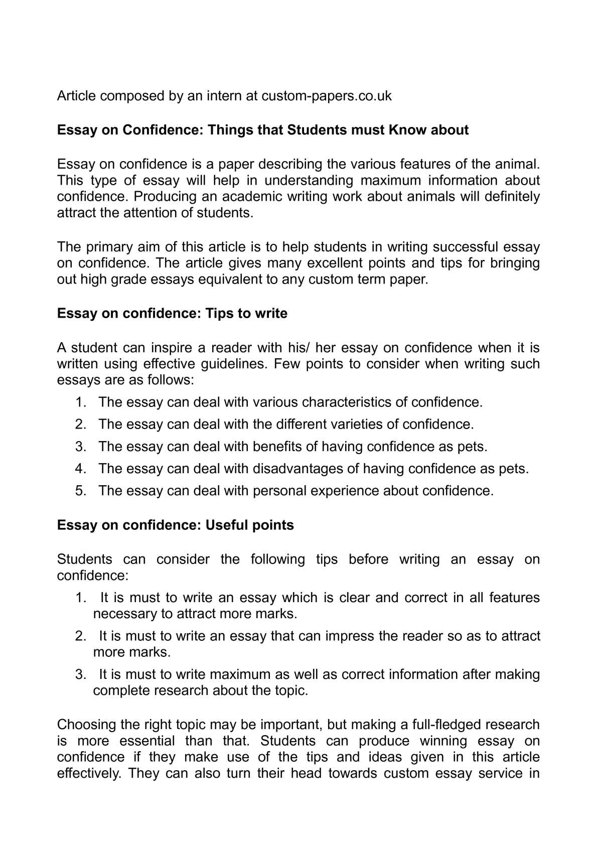 Calamo  Essay On Confidence Things That Students Must Know About
