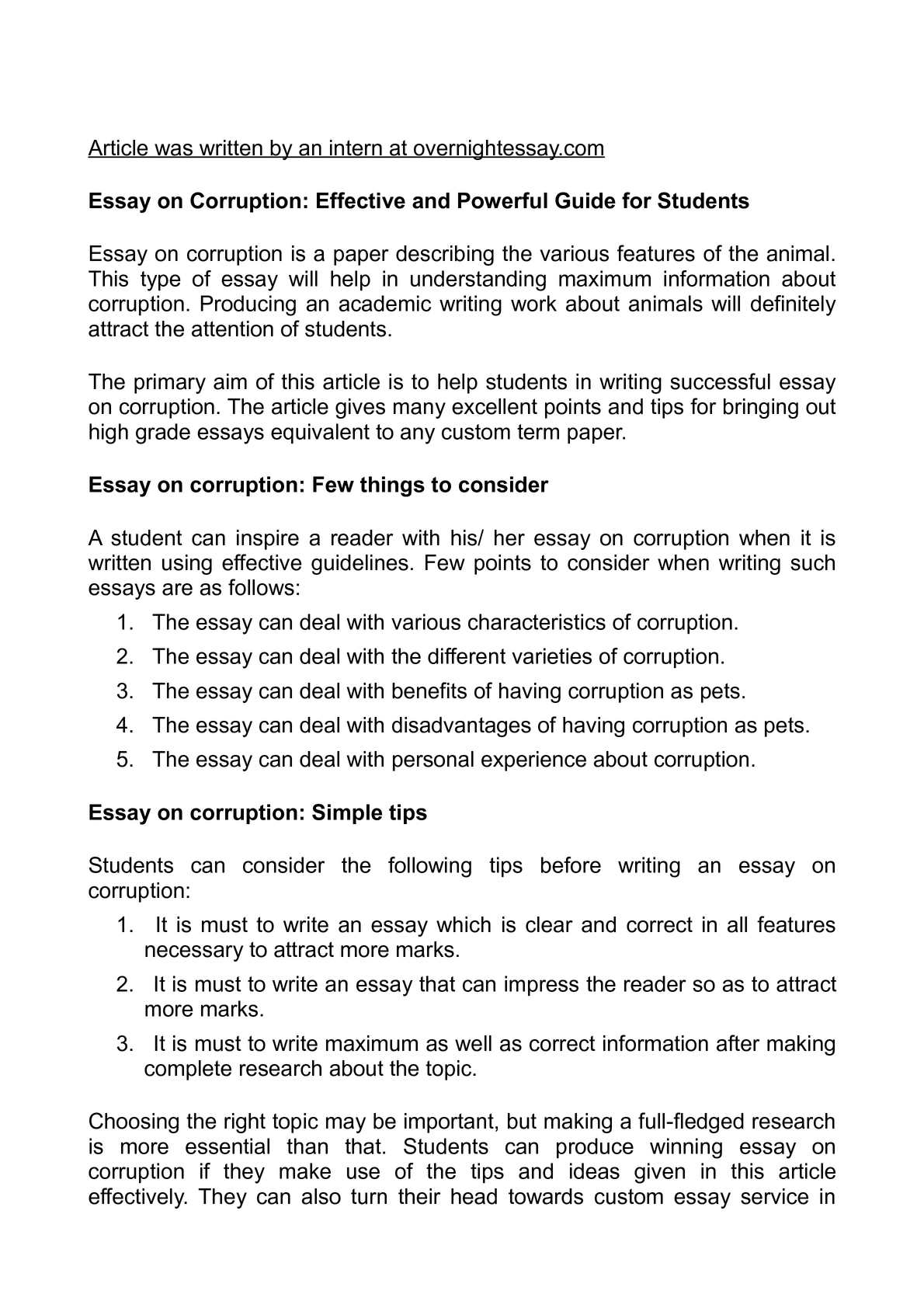 corruption essay template corruption essay