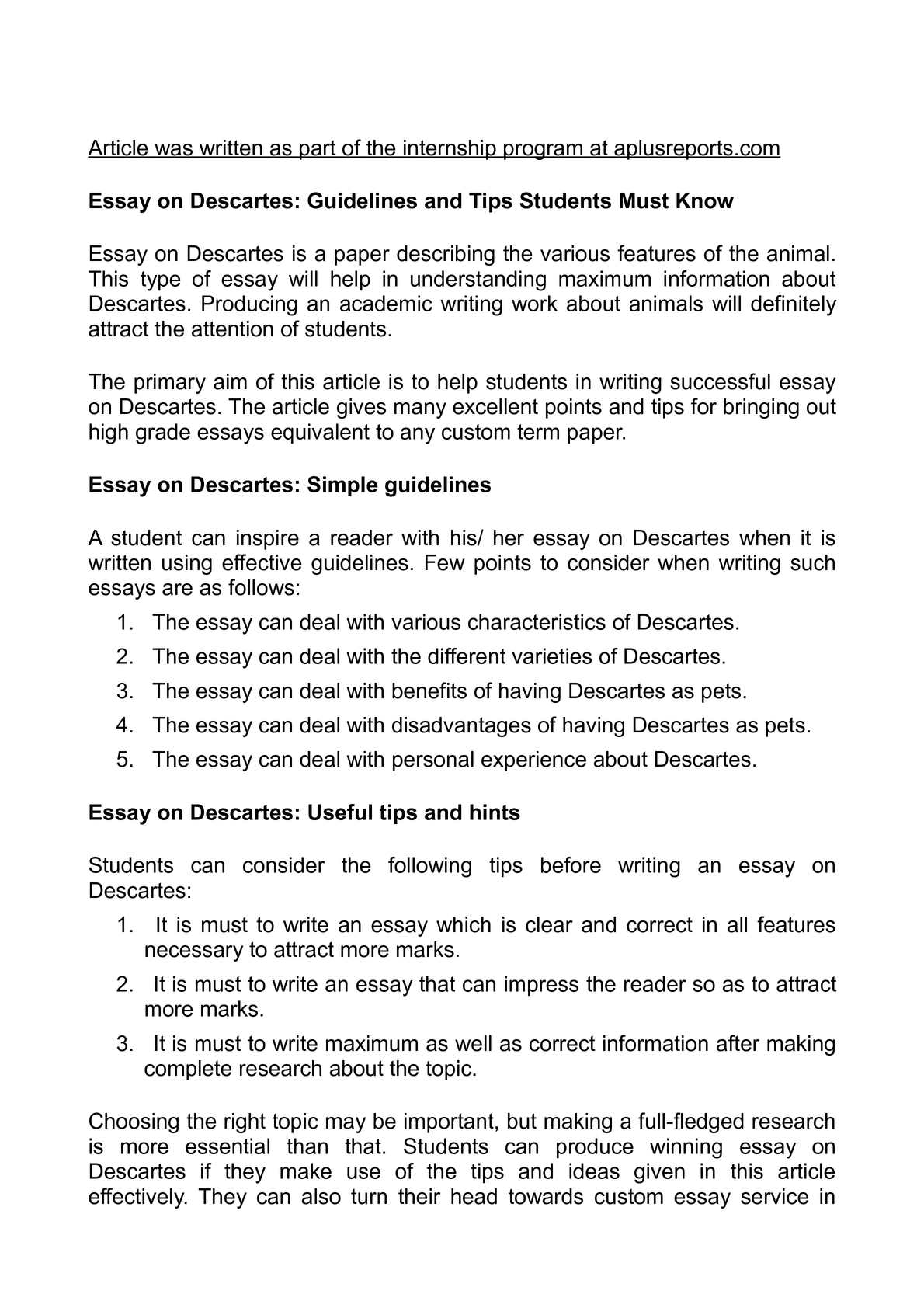 Calaméo - Essay on Descartes: Guidelines and Tips Students Must Know