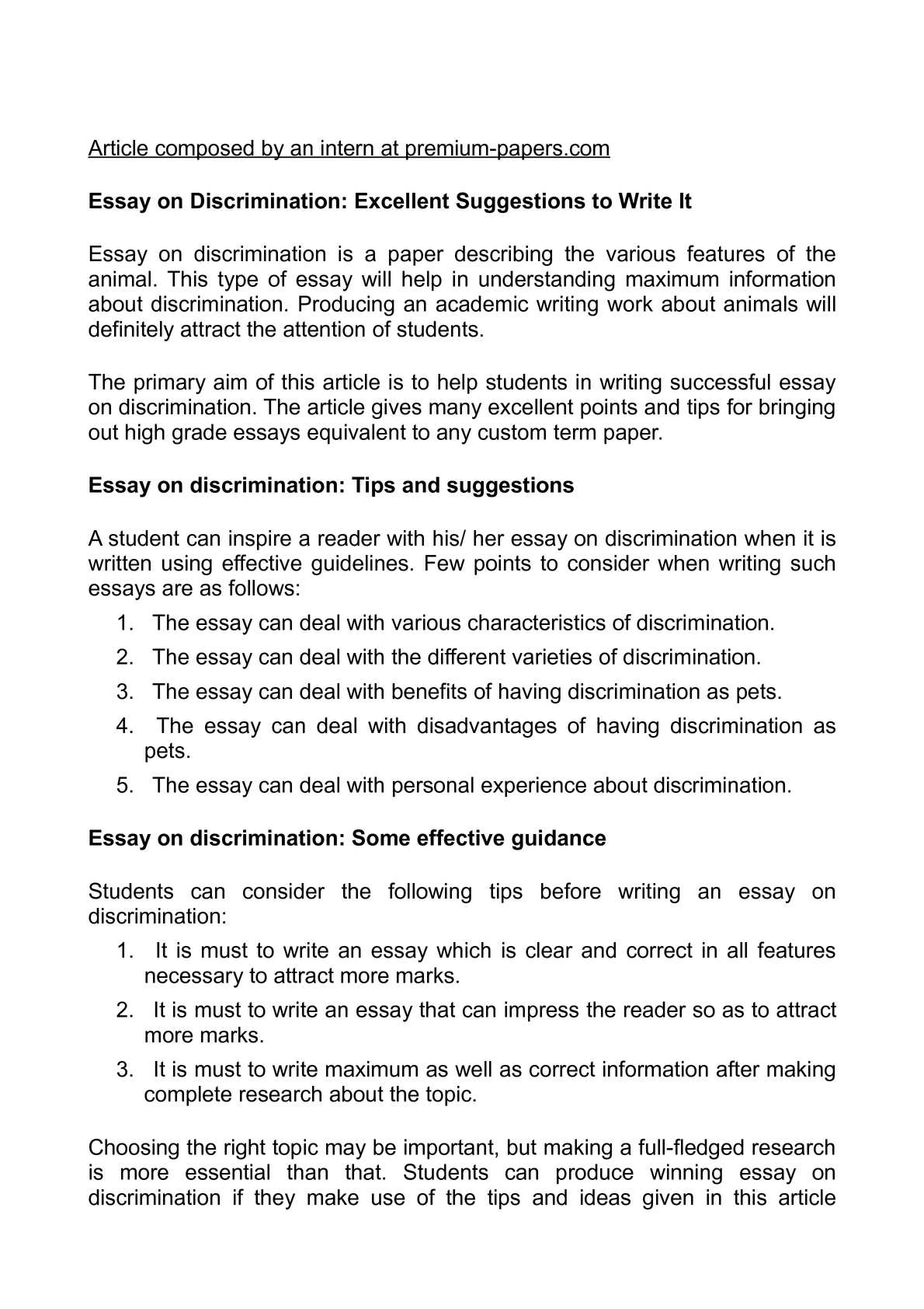 essay on discrimination excellent suggestions to write it