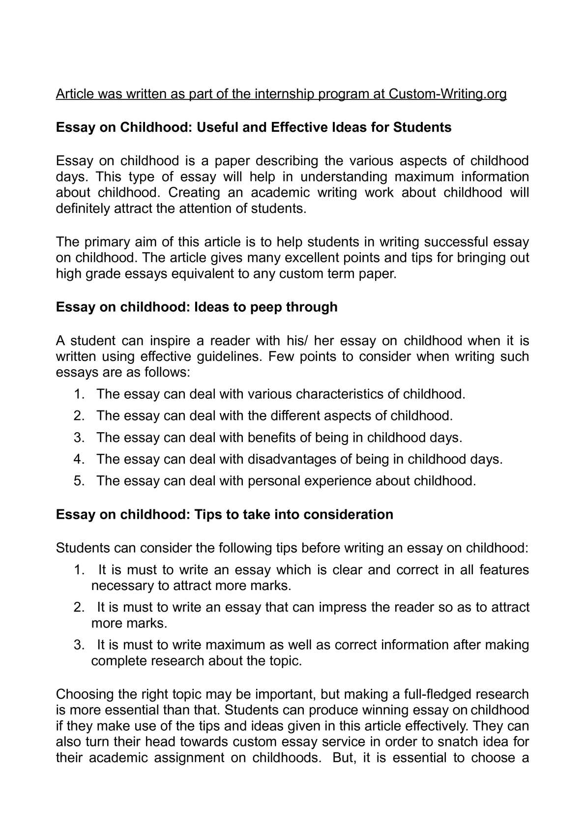 Calamo  Essay On Childhood Useful And Effective Ideas For Students