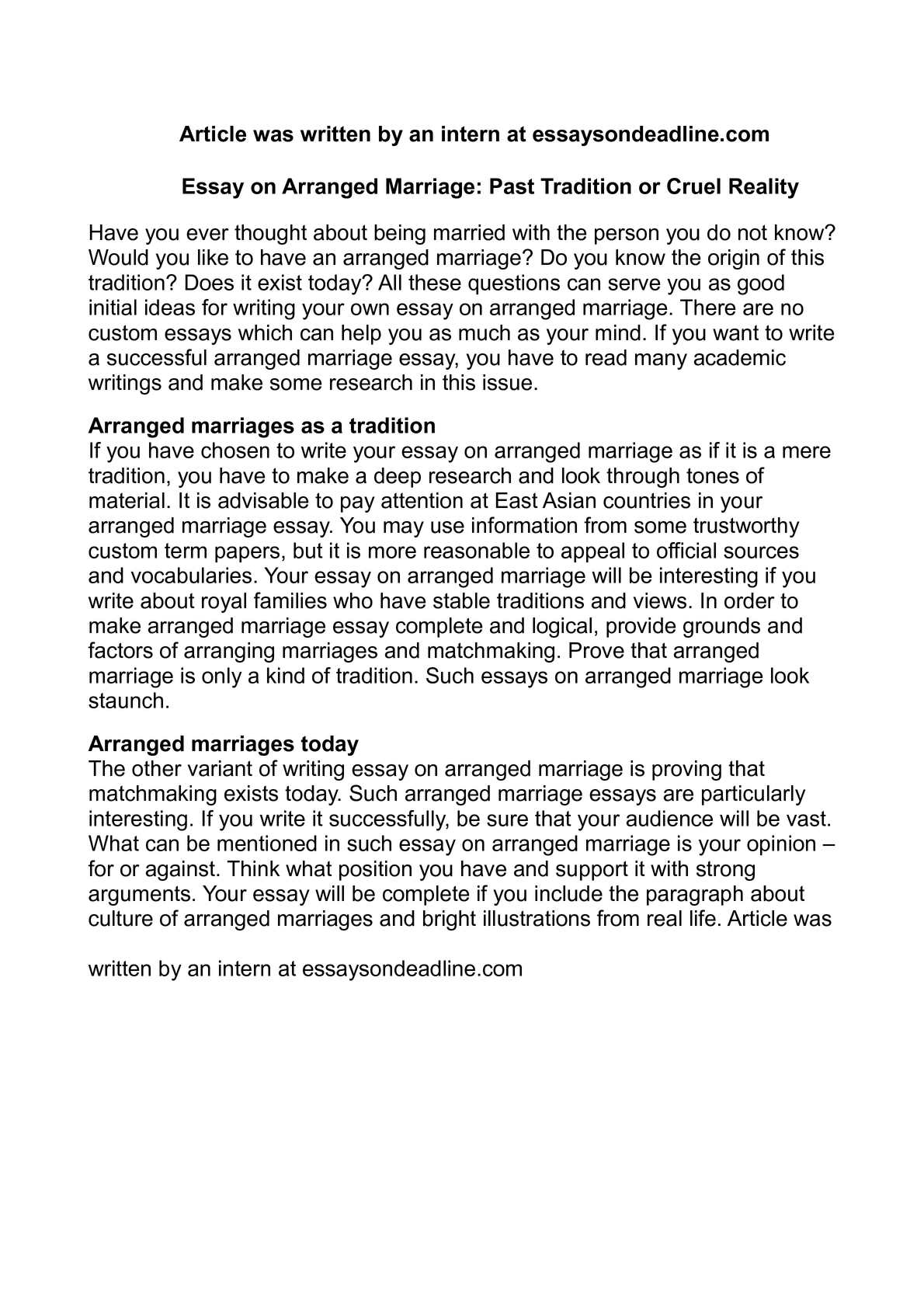 arranged marriage opinion essay