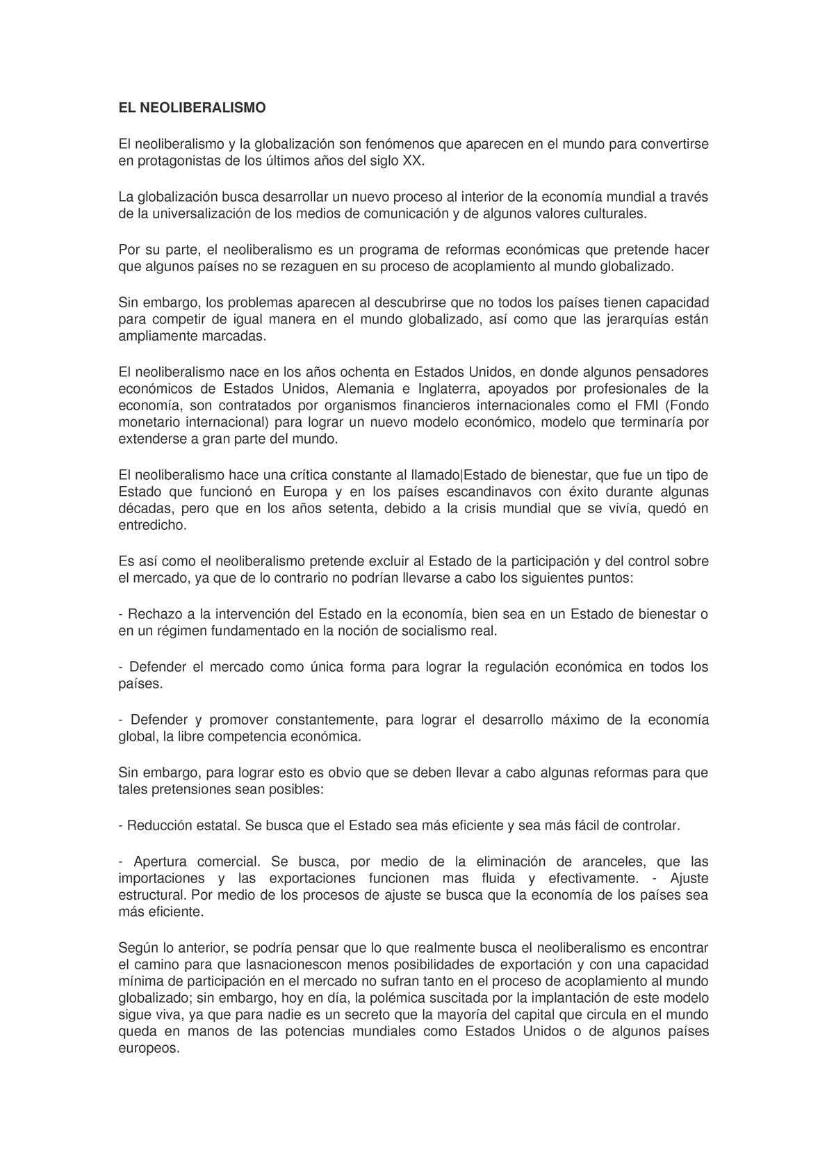 Calaméo - EL NEOLIBERALISMO