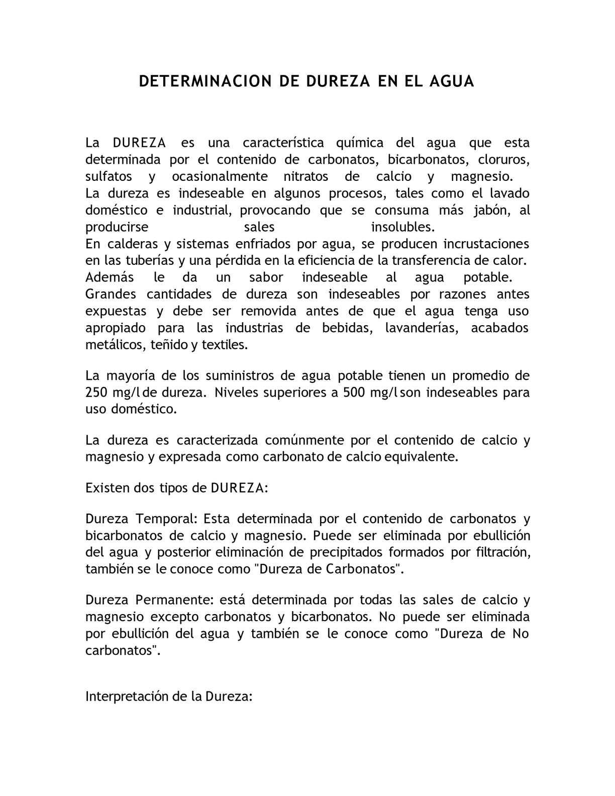 DETERMINACION DE DUREZA EN EL AGUA