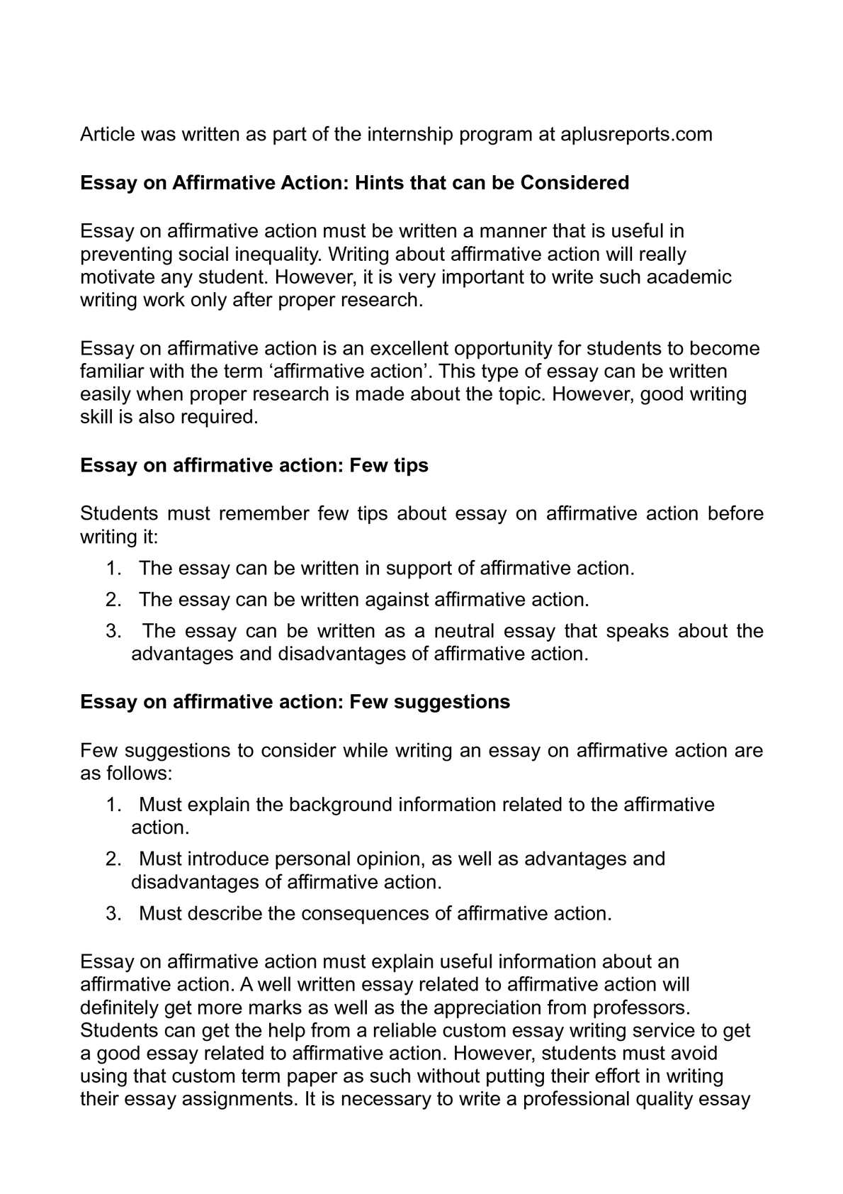 Calam o essay on affirmative action hints that can be considered