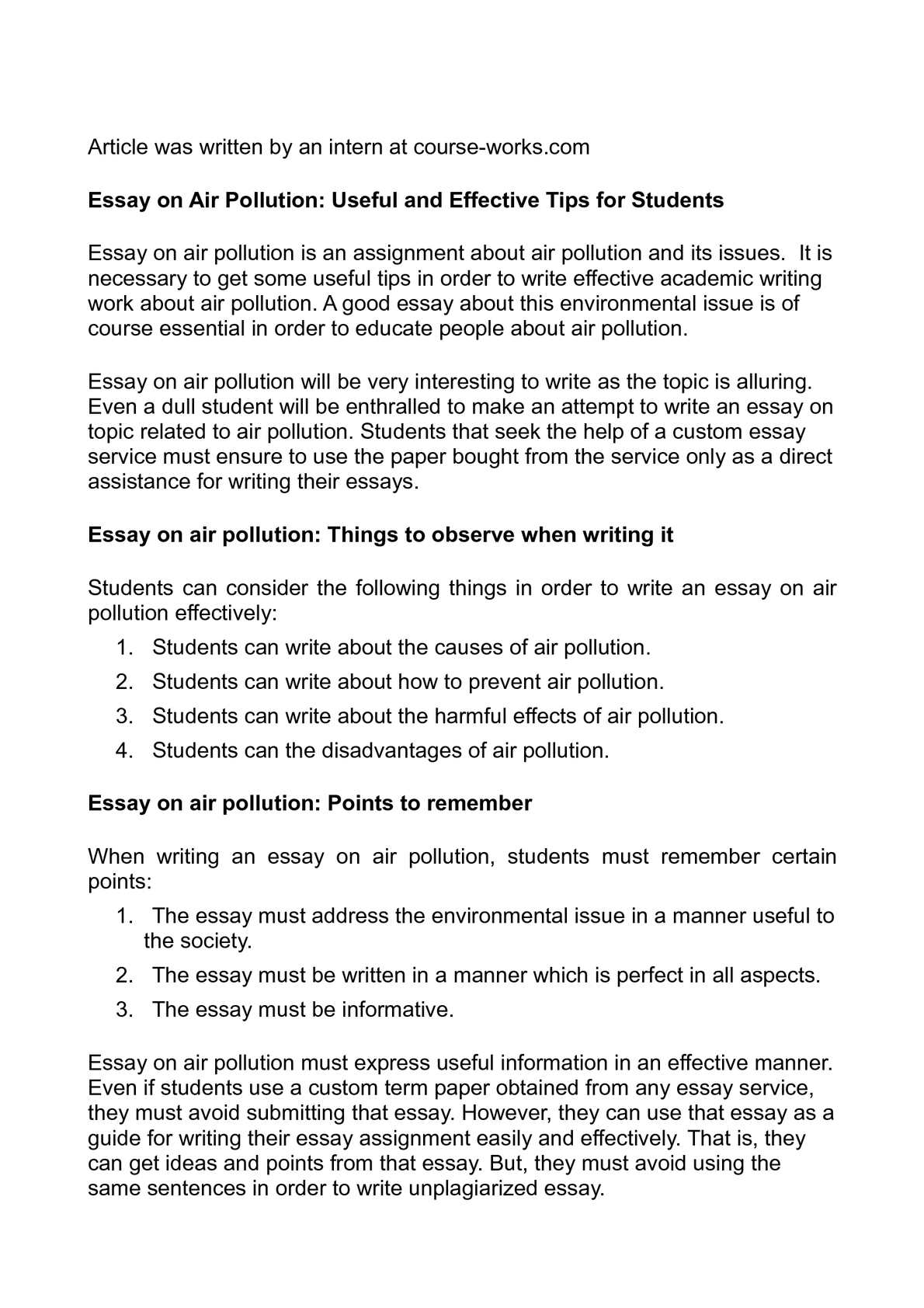 essay about air pollution in malaysia Environmental pollution essay examples  air, water, and noise pollution 473 words 1 page consequences of environmental pollution and.