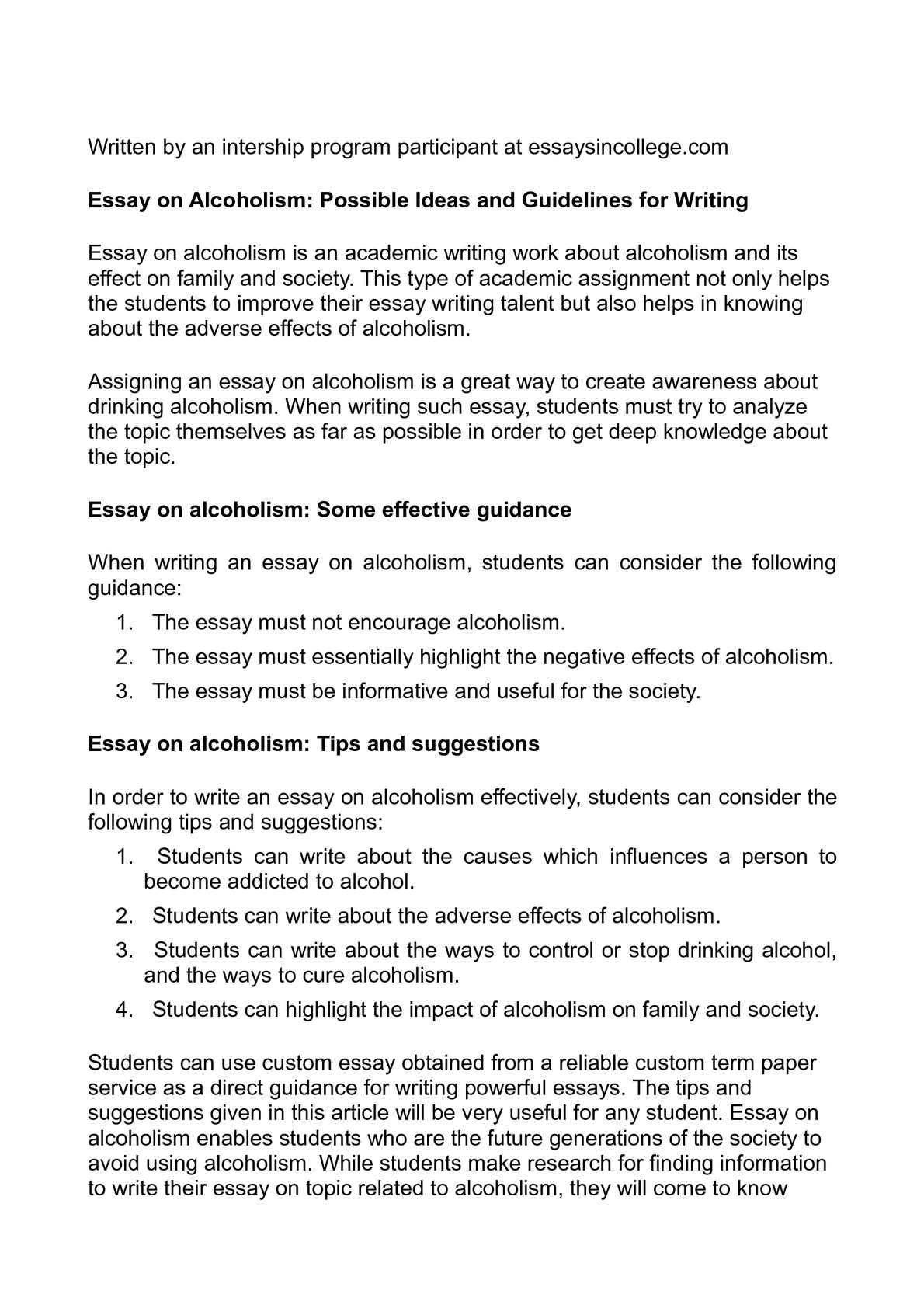 Calamo  Essay On Alcoholism Possible Ideas And Guidelines For Writing