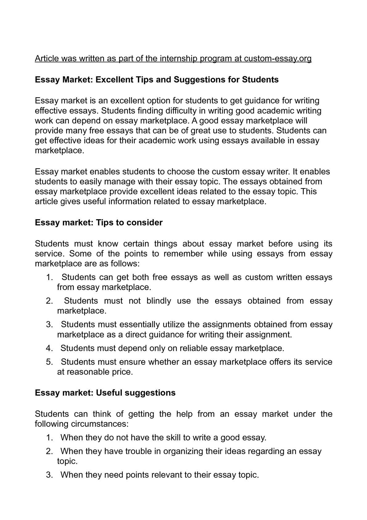 Calamo  Essay Market Excellent Tips And Suggestions For Students Essay Market Excellent Tips And Suggestions For Students
