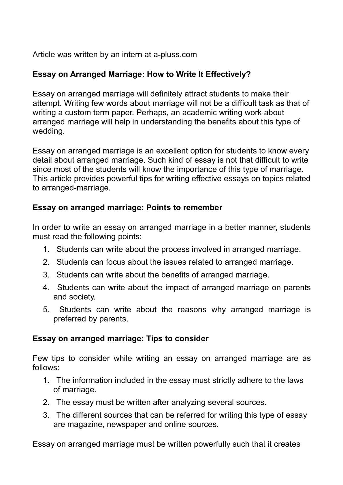 Calamo  Essay On Arranged Marriage How To Write It Effectively