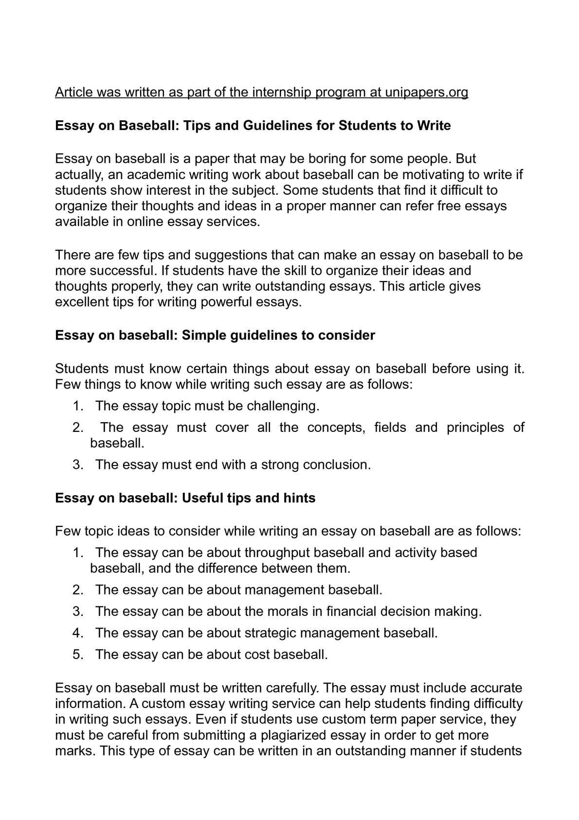 essay on baseball tips and guidelines for students to write