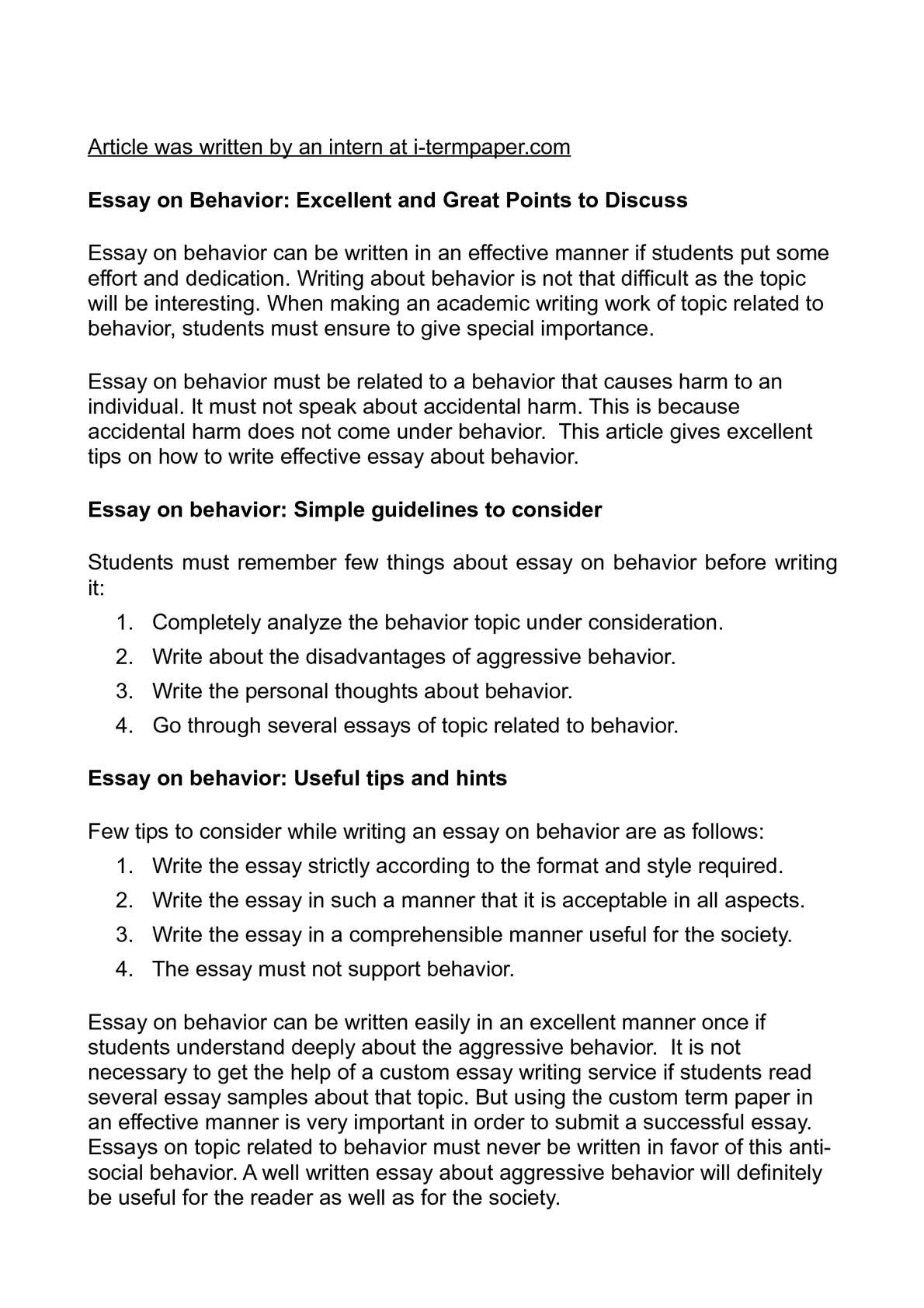 Calam o essay on behavior excellent and great points to discuss