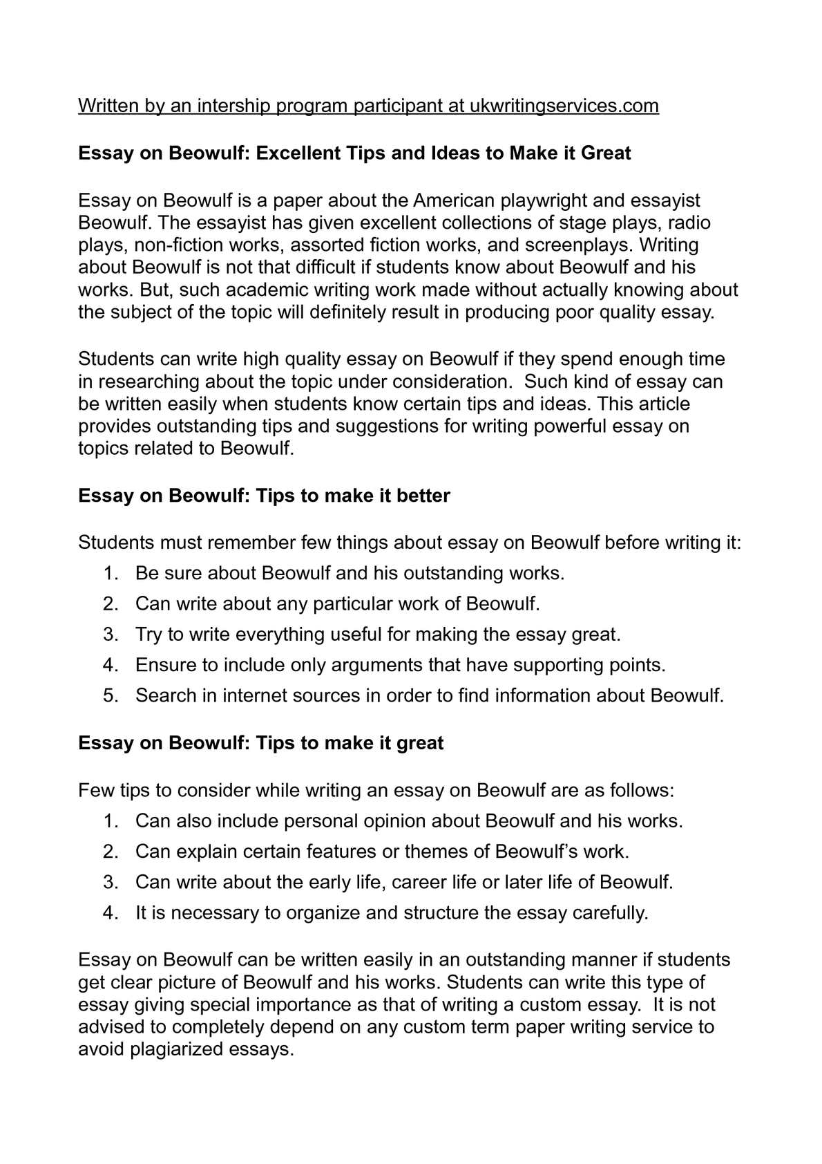 English Essay Ideas  How To Write An Essay Thesis also Examples Of Thesis Statements For Expository Essays Calamo  Essay On Beowulf Excellent Tips And Ideas To Make It Great After High School Essay
