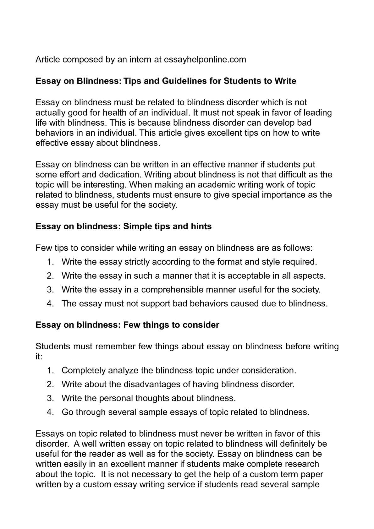 Calamo  Essay On Blindness Tips And Guidelines For Students To Write Essay On Blindness Tips And Guidelines For Students To Write