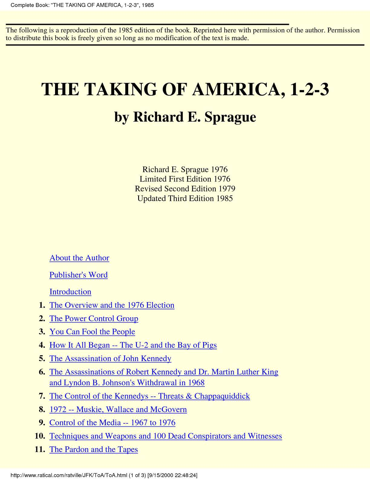 Calaméo - [conspiracy] The Taking of America 1-2-3 by Richard E.Sprague