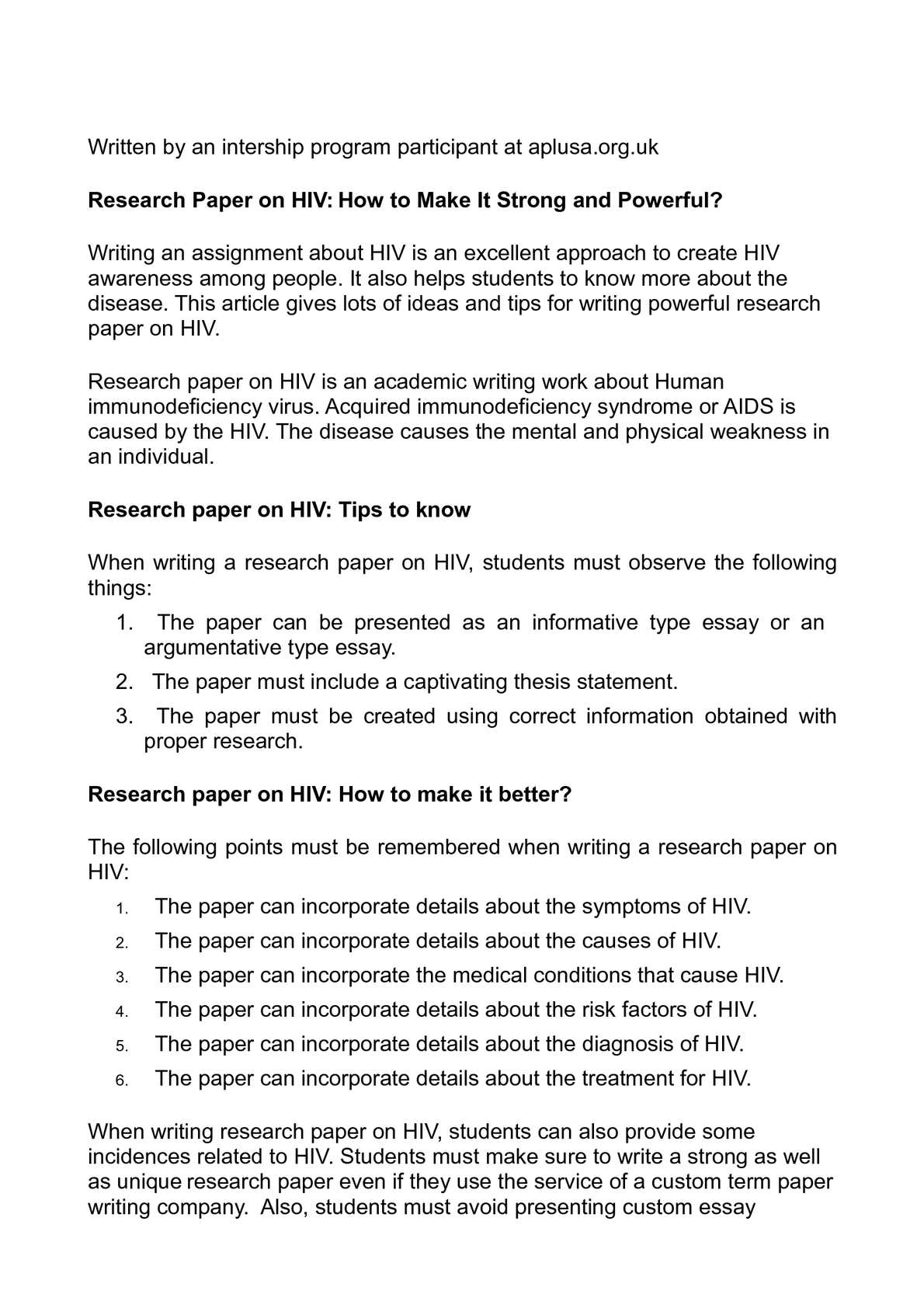 Research paper on aids