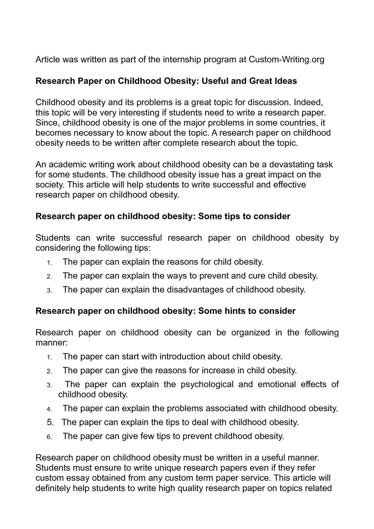 introduction for childhood obesity research paper Childhood obesity i introduction: childhood obesity introduction child health issues are at the core of argumentative research essay on childhood obesity.