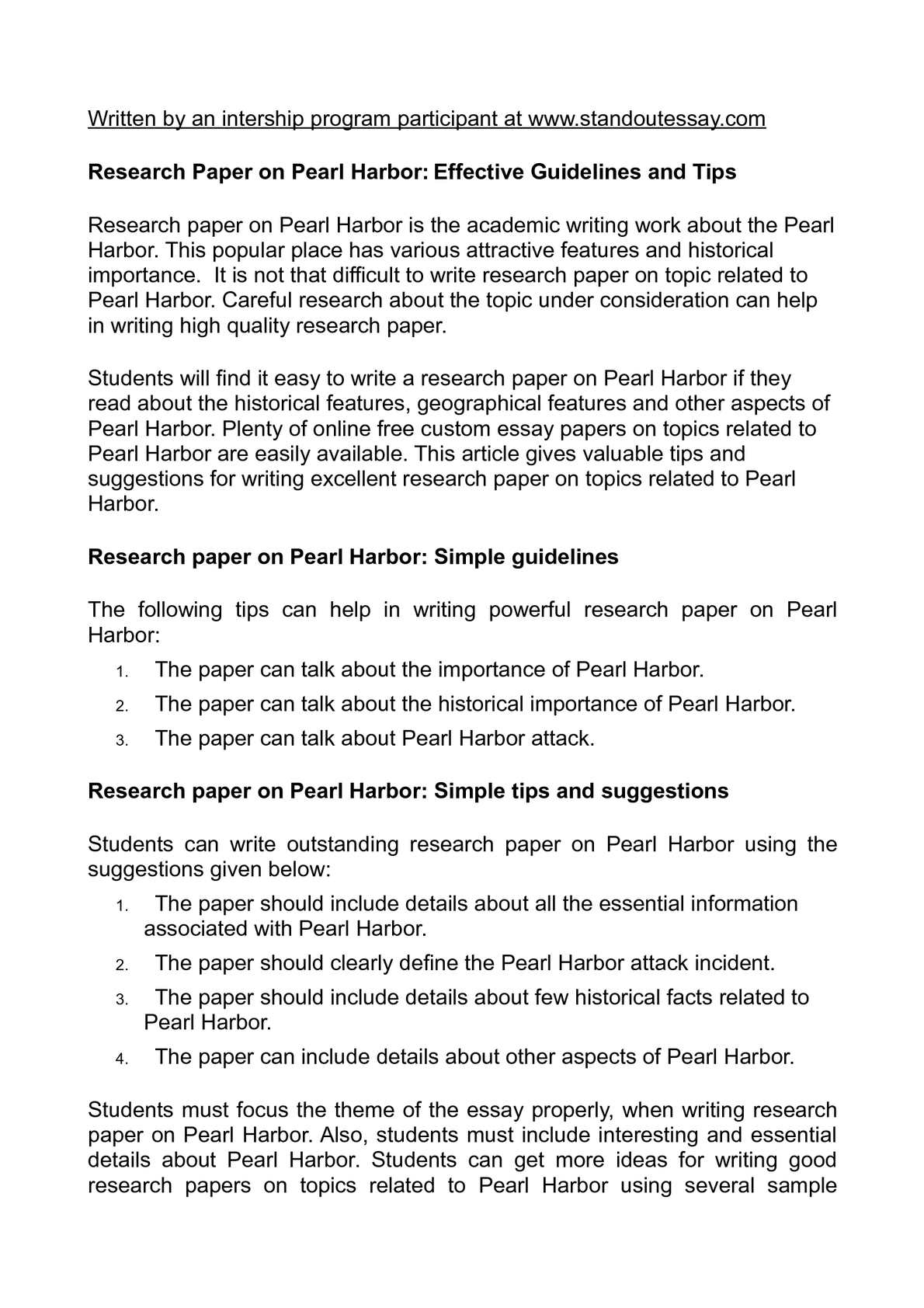 pearl harbor research paper thesis statement